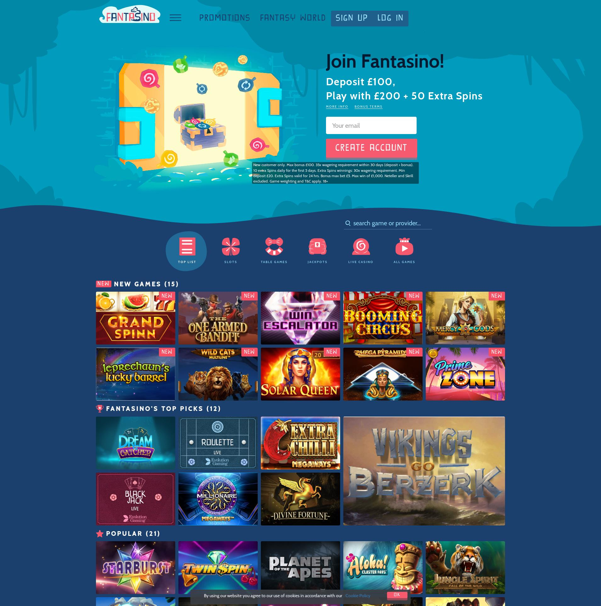 Casino screen Lobby 2019-08-24 for United Kingdom