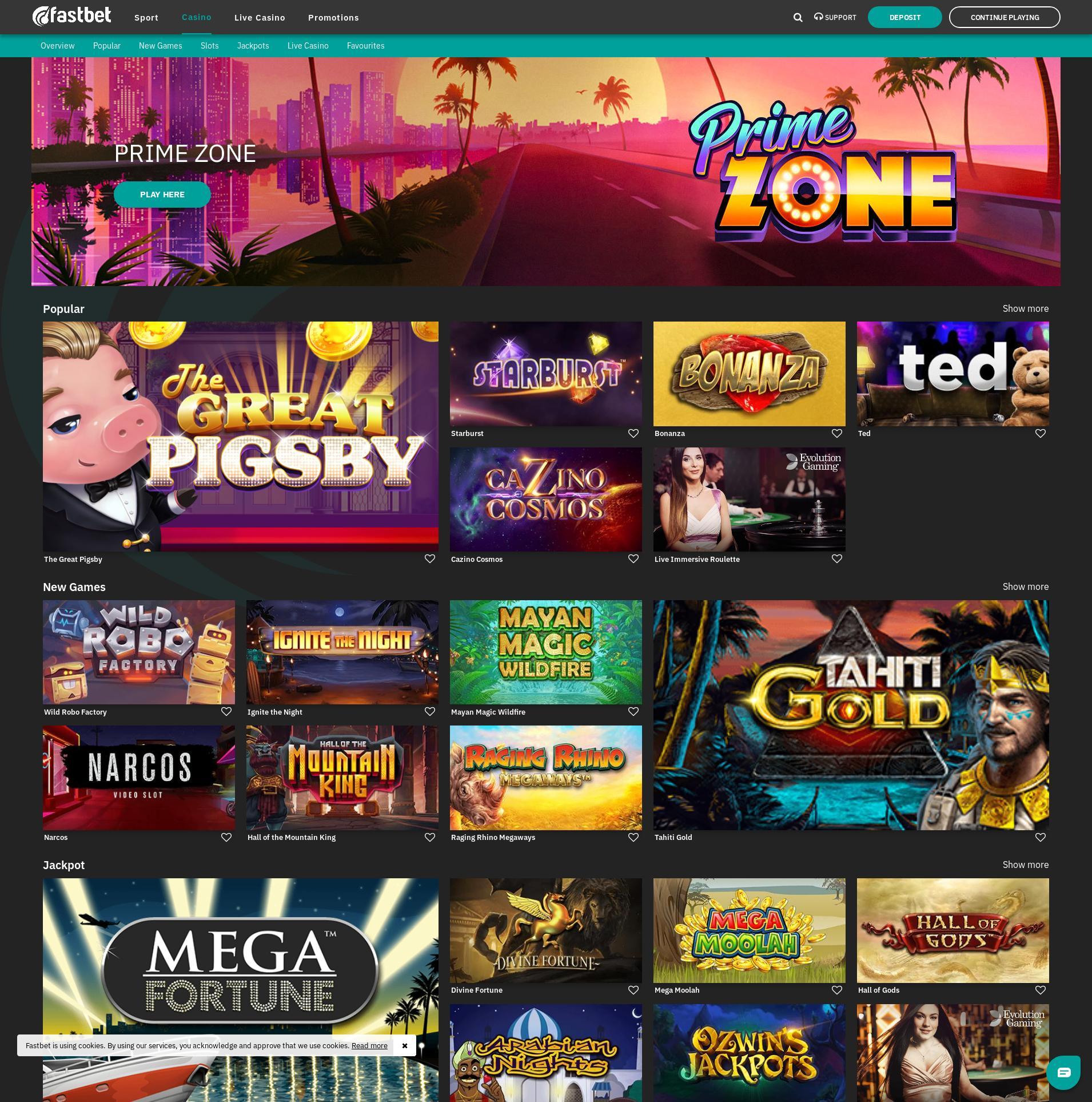 Casino screen Lobby 2019-07-17 for Sweden