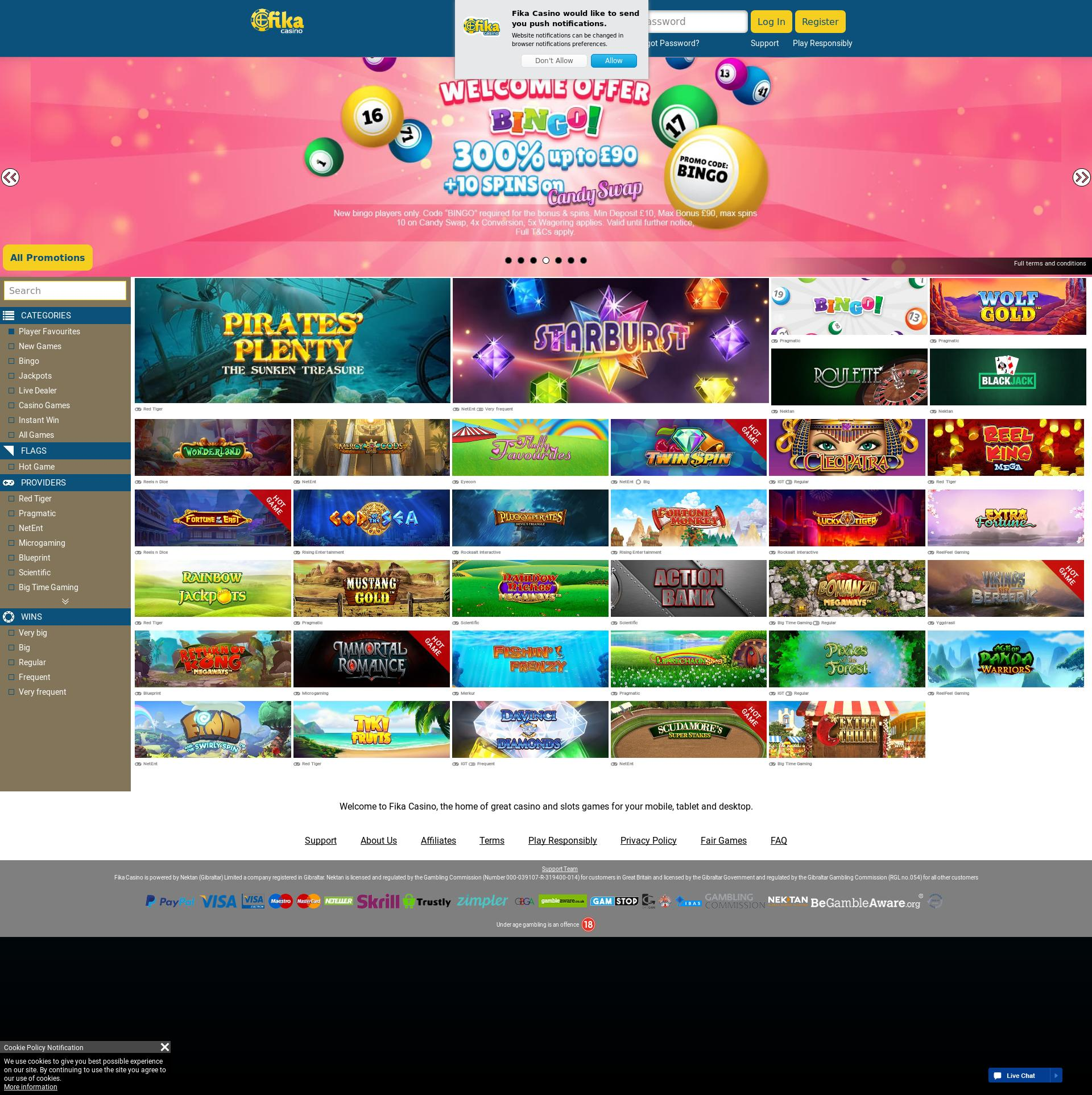 Casino screen Lobby 2019-08-22 for United Kingdom