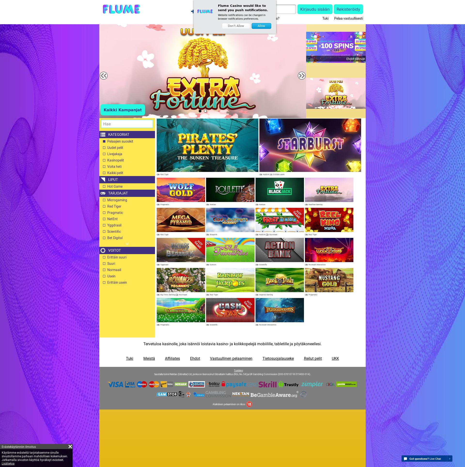 Casino screen Lobby 2019-07-22 for Finland
