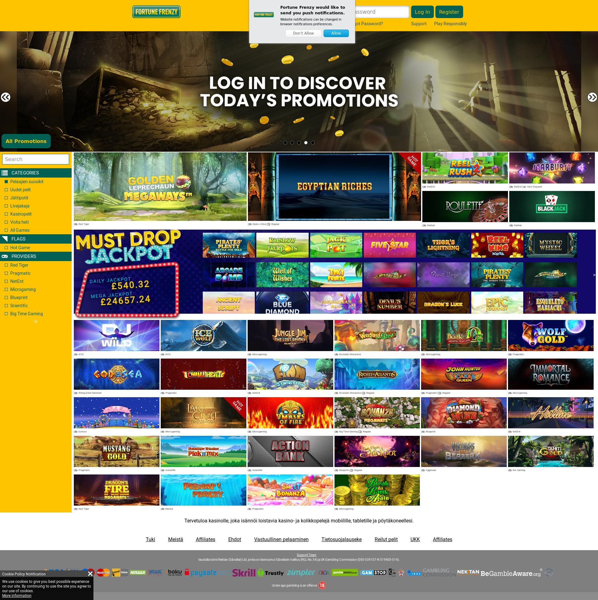 Casino skjerm Lobby 2019-11-17 til Finland