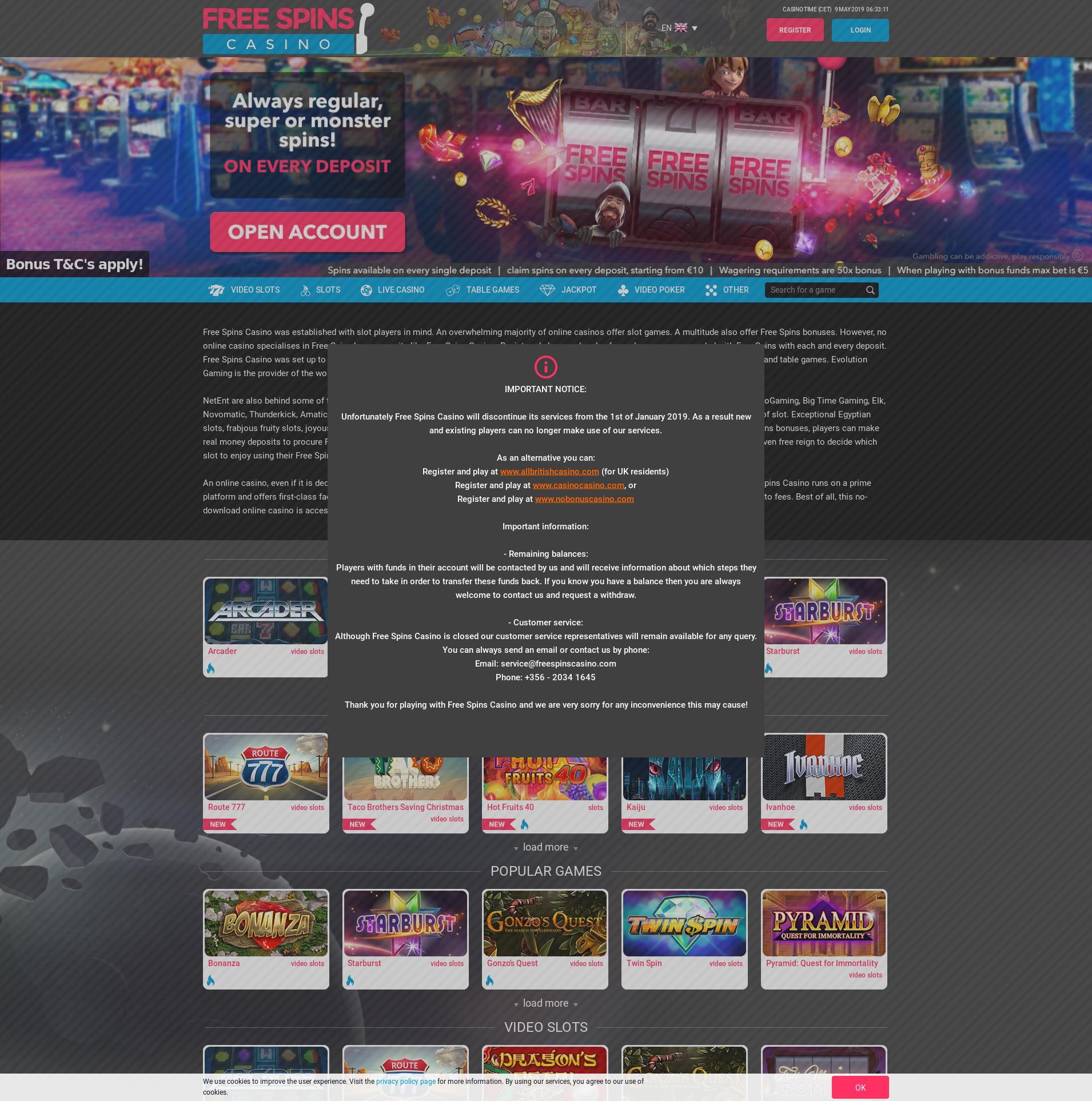 Casino screen Lobby 2019-05-09 for United Kingdom