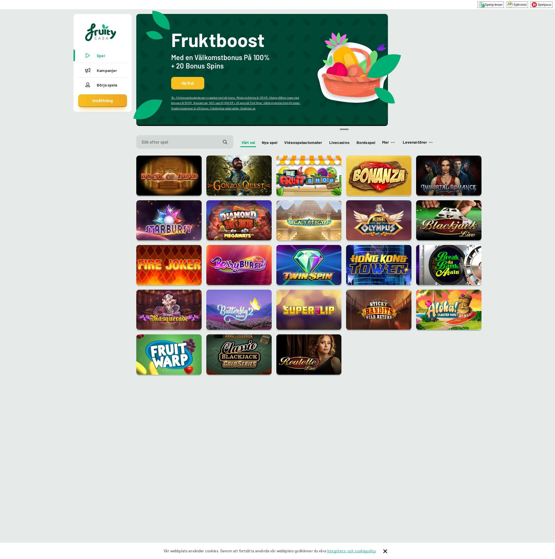 Casino screen Lobby 2020-05-25 for Sweden