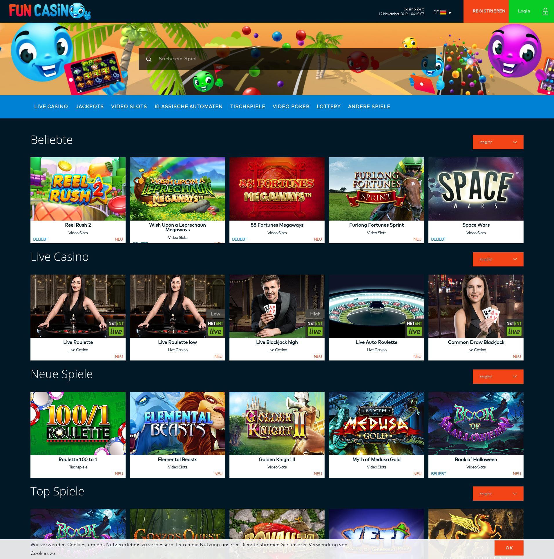 Casino Bildschirm Lobby 2019-11-12 zum Deutschland