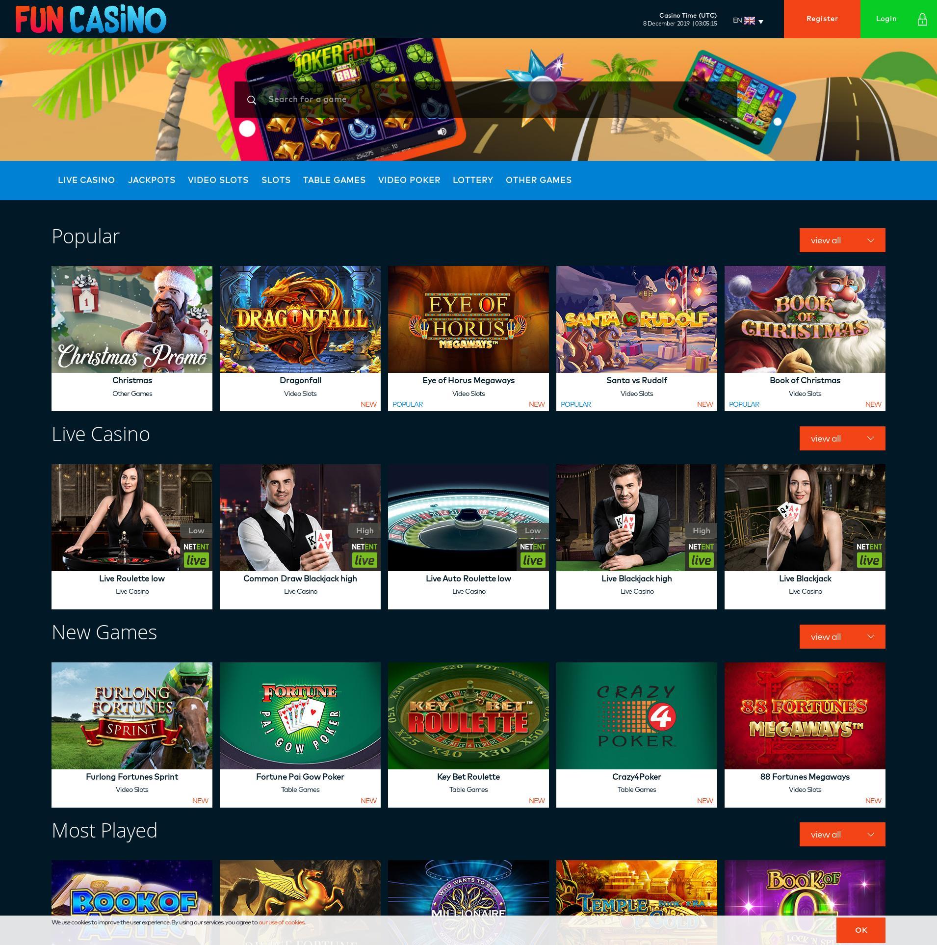 Casino screen Lobby 2019-12-08 for United Kingdom
