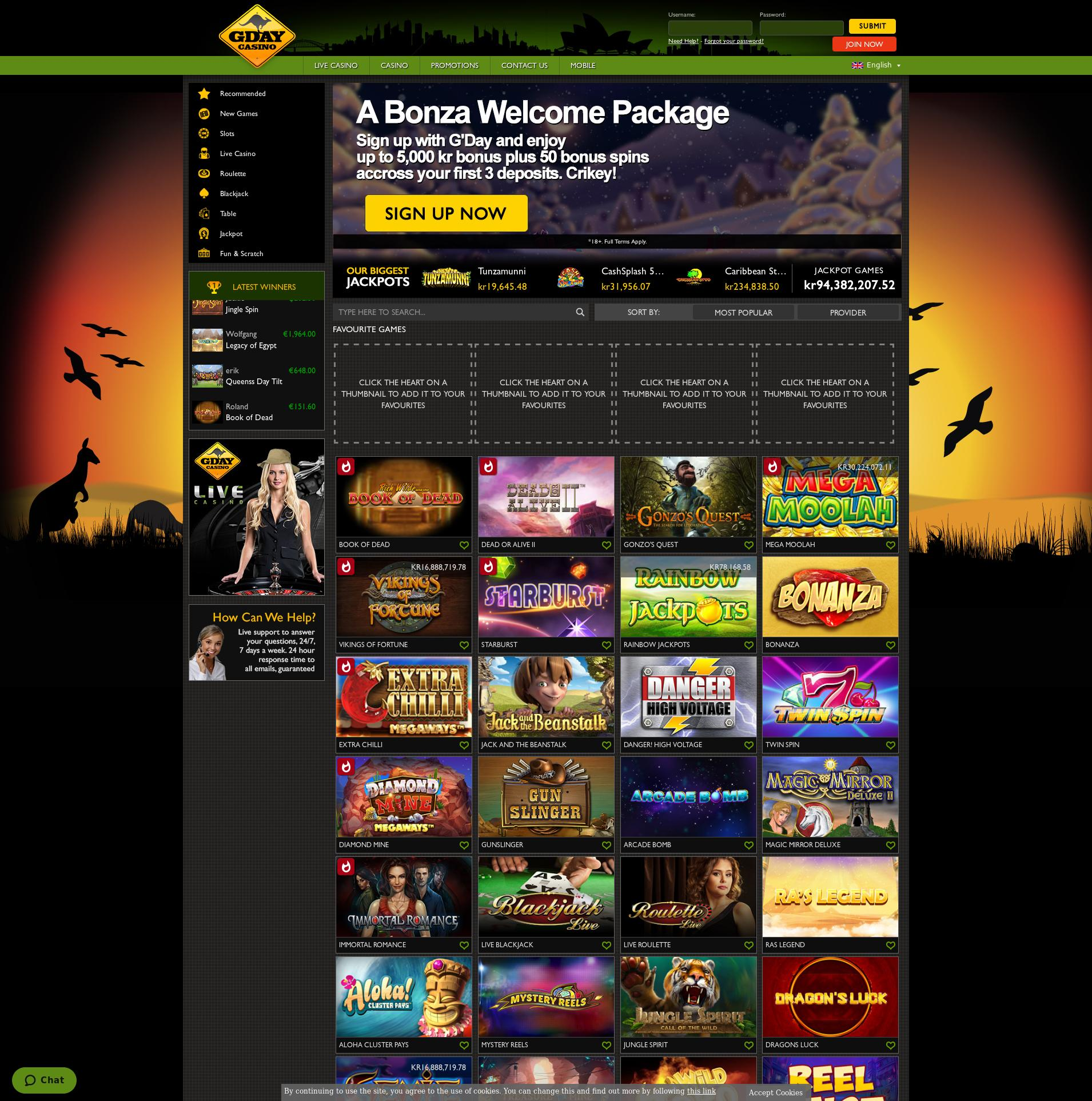 Casino screen Lobby 2019-12-12 for Norway