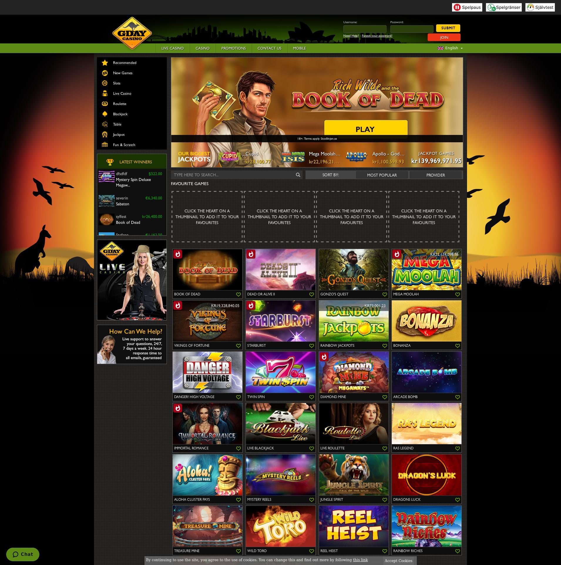 Casino skärm Lobby 2020-05-29 för Sverige