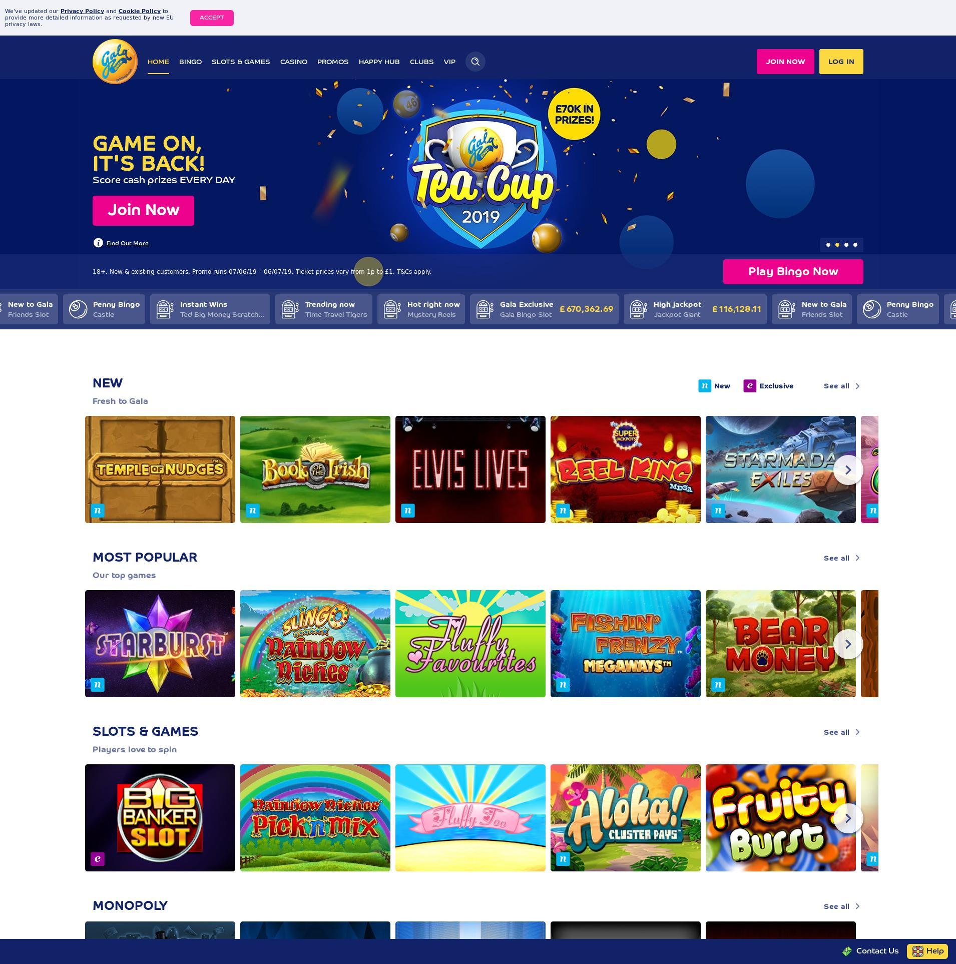 Casino screen Lobby 2019-06-07 for United Kingdom