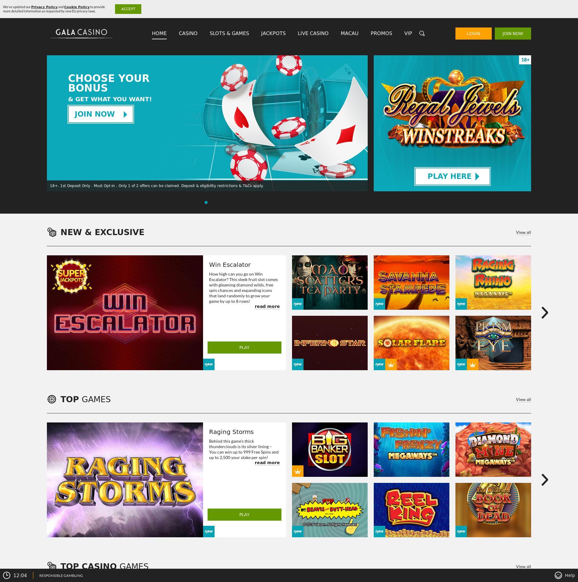 Casino screen Lobby 2019-07-17 for United Kingdom