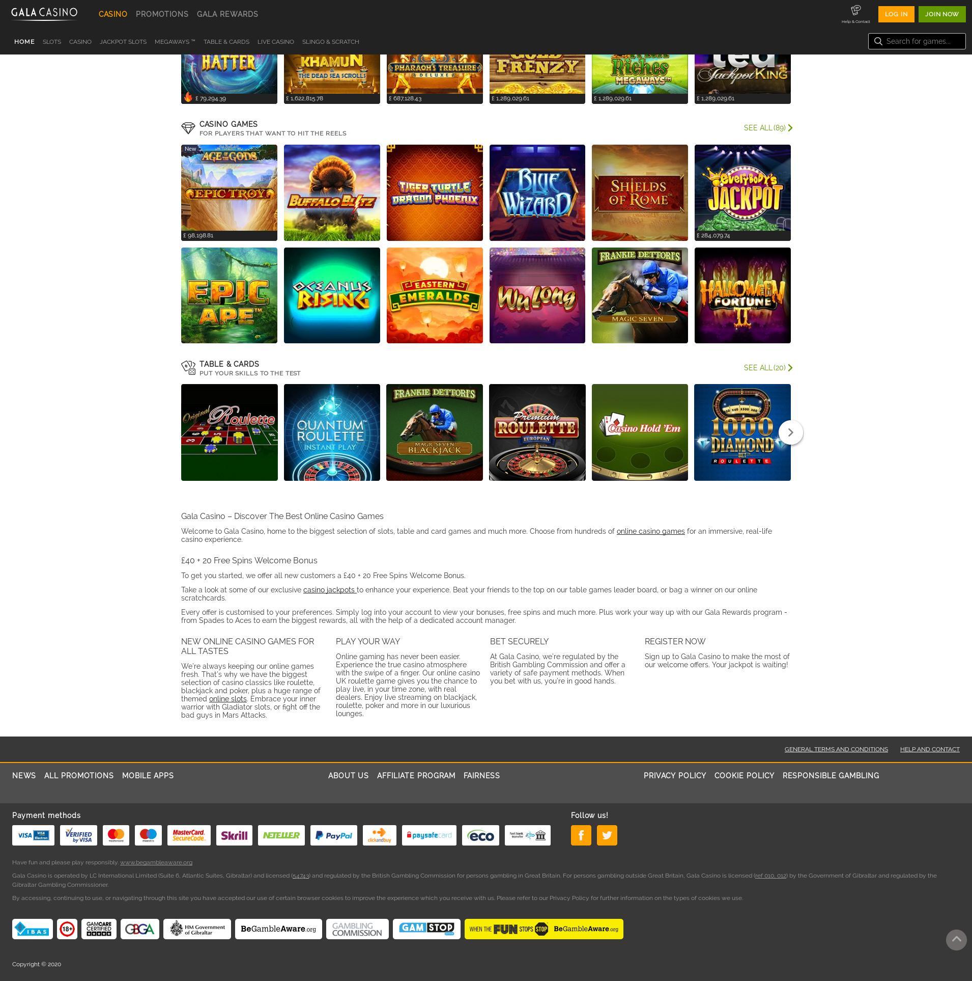 Casino screen Lobby 2020-02-19 for United Kingdom