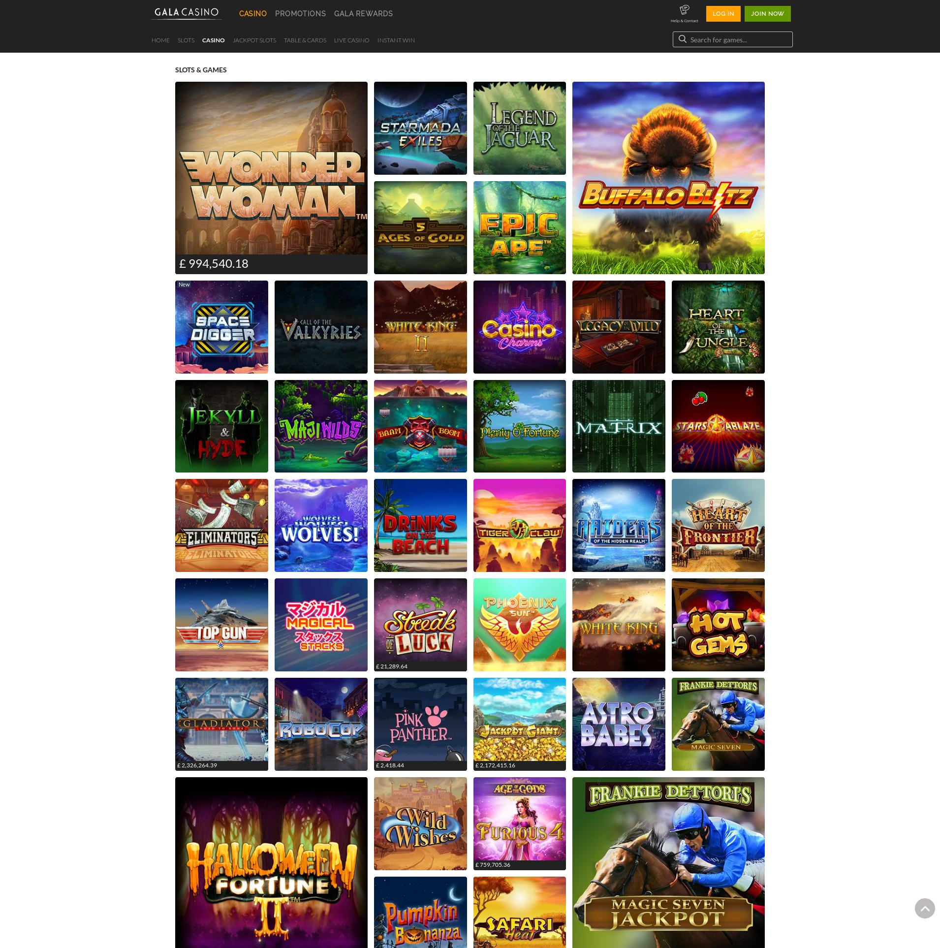 Casino screen Lobby 2019-08-18 for United Kingdom