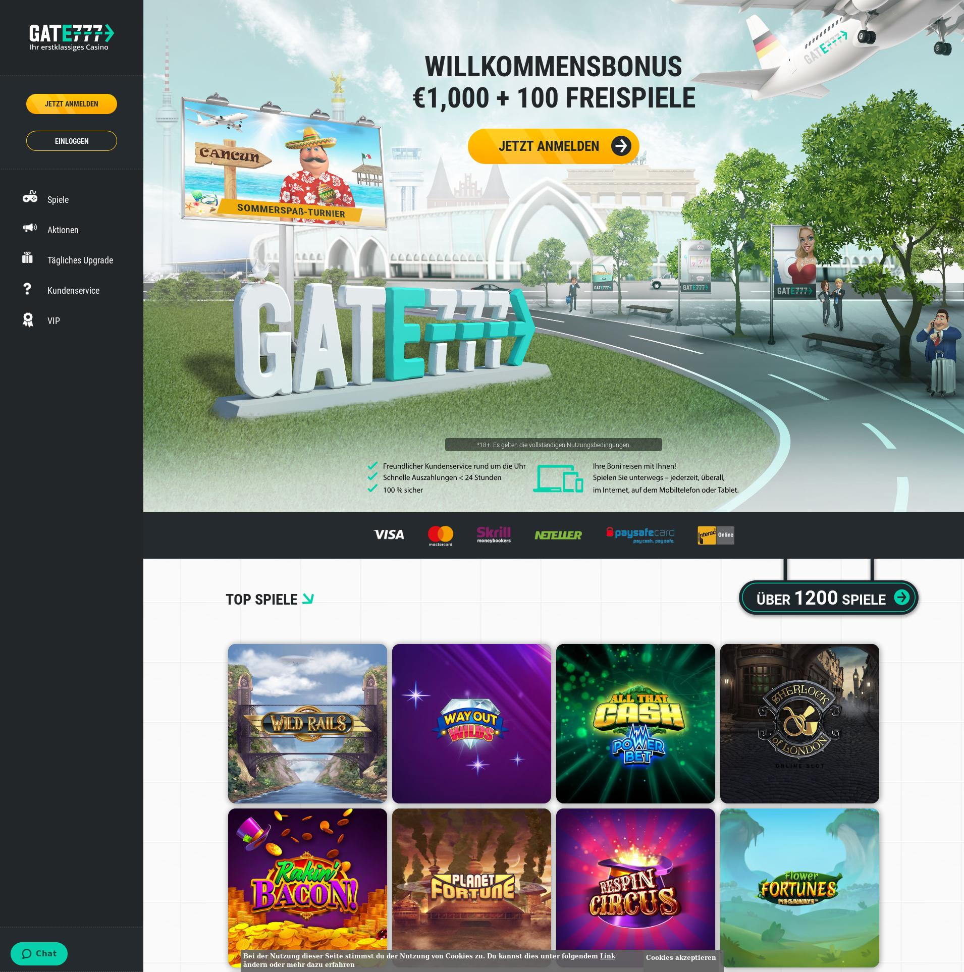 Casino Bildschirm Lobby 2019-07-15 zum Deutschland