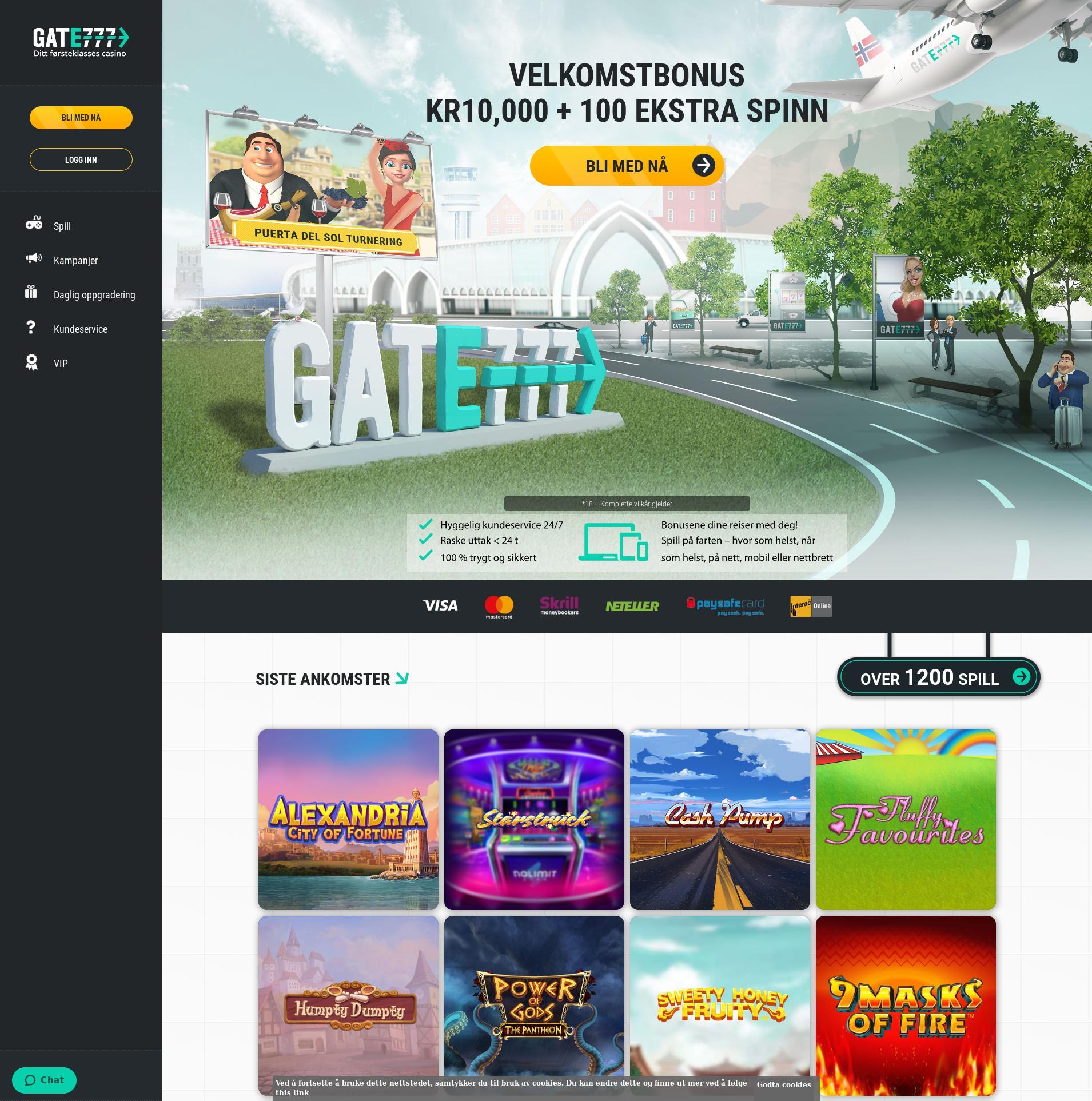 Casino skjerm Lobby 2019-10-21 til Norge
