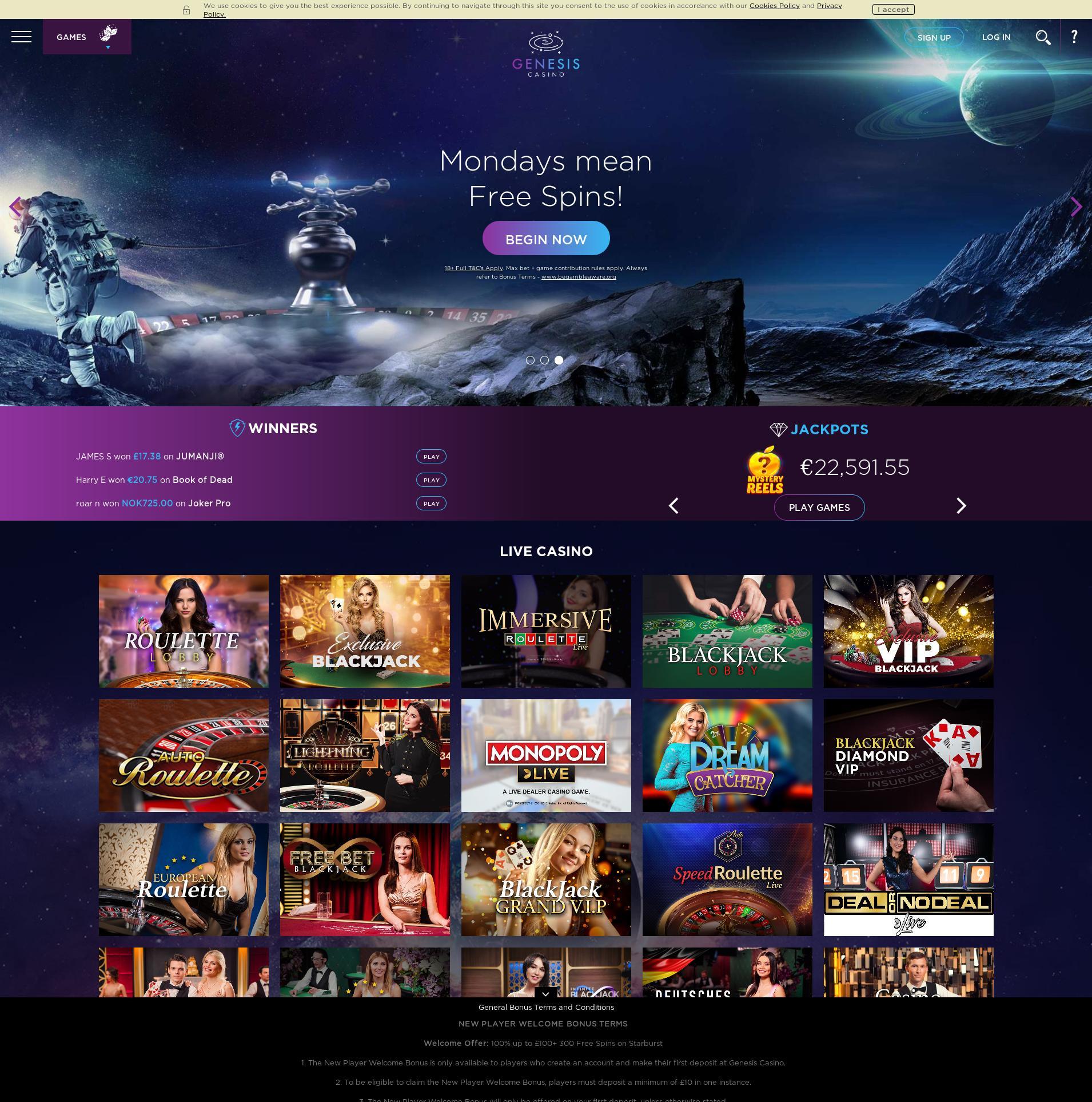 Casino screen Lobby 2019-12-05 for United Kingdom