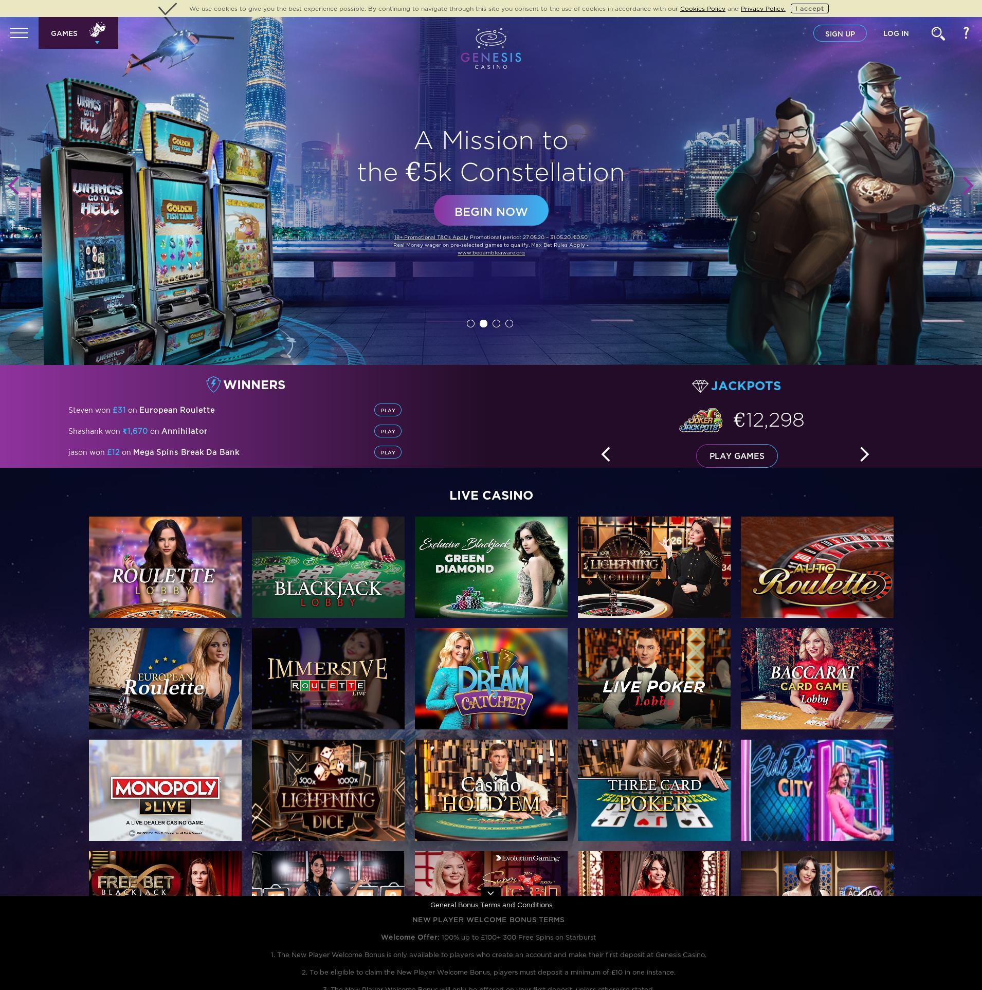 Casino skjerm Lobby 2020-05-29 til Storbritannia