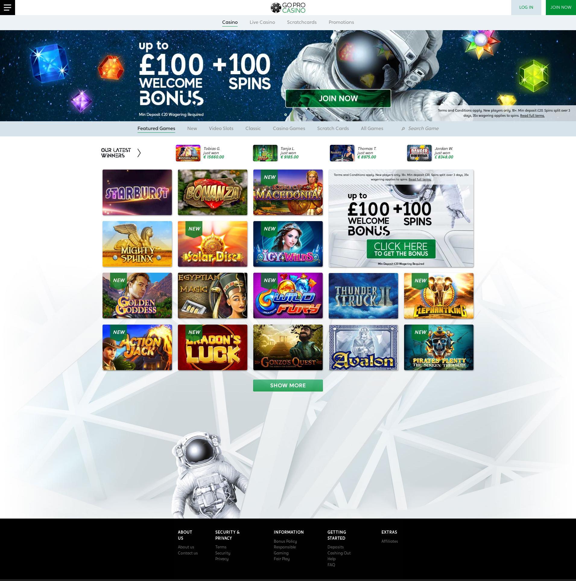 Casino screen Lobby 2019-07-22 for United Kingdom