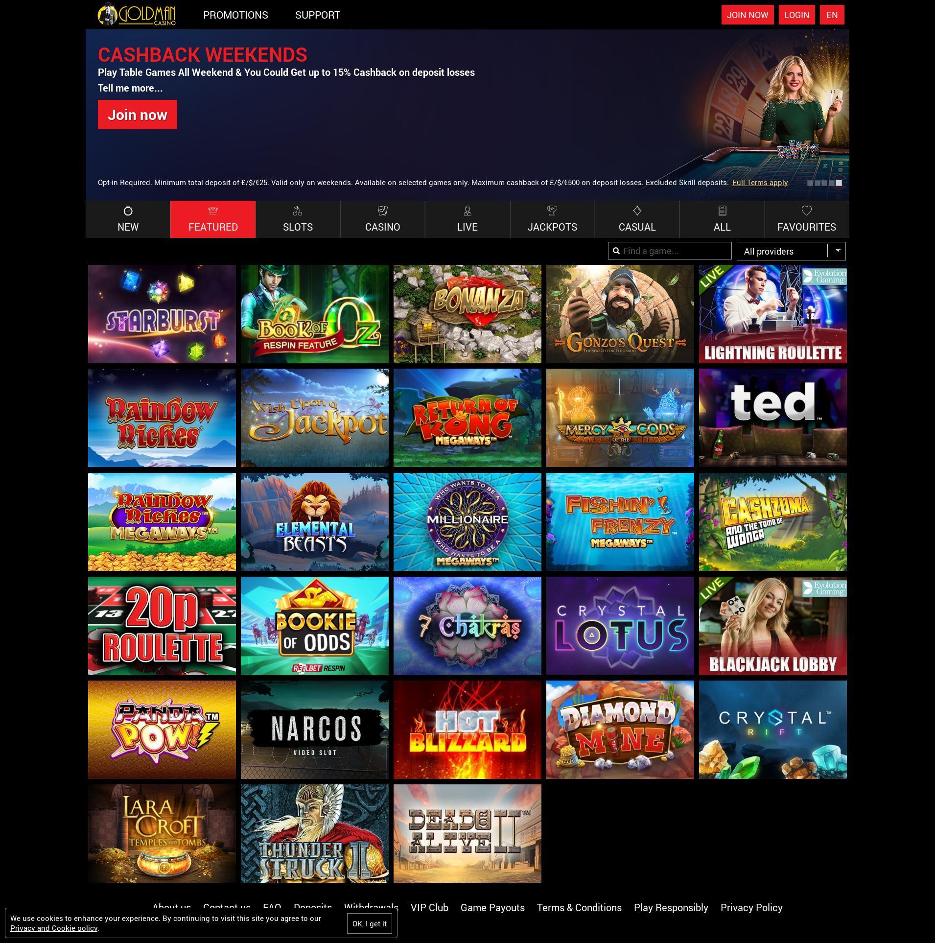 Casino screen Lobby 2019-10-14 for United Kingdom