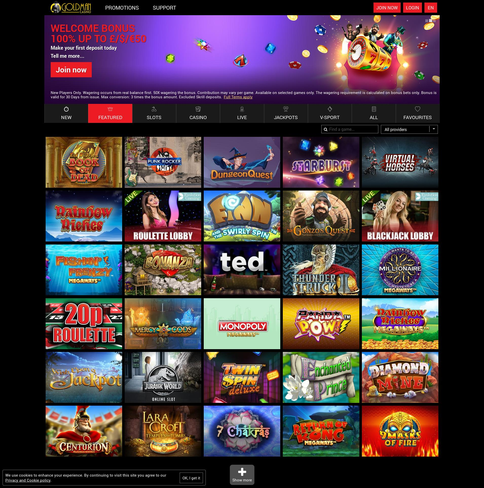Casino screen Lobby 2020-06-01 for United Kingdom