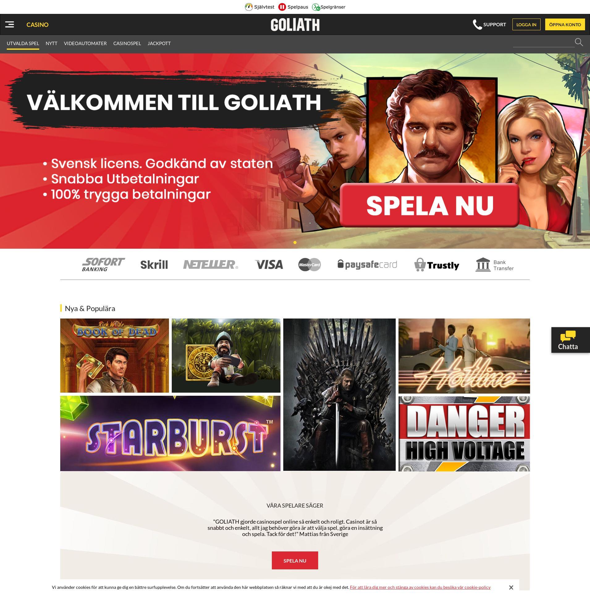 Casino skärm Lobby 2019-08-18 för Sverige