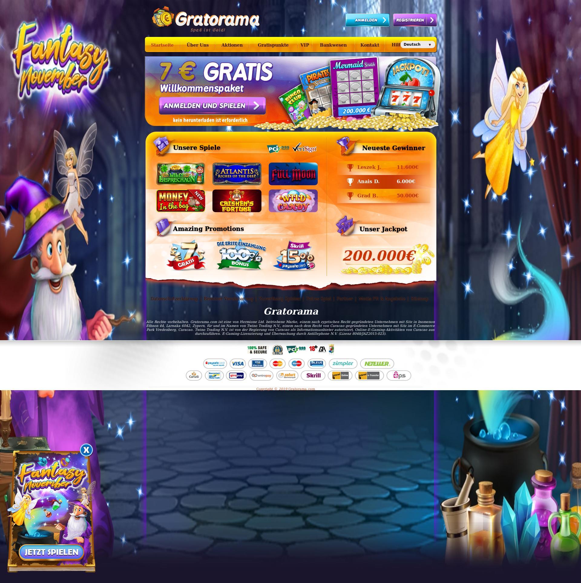 Casino Bildschirm Lobby 2019-11-16 zum Deutschland