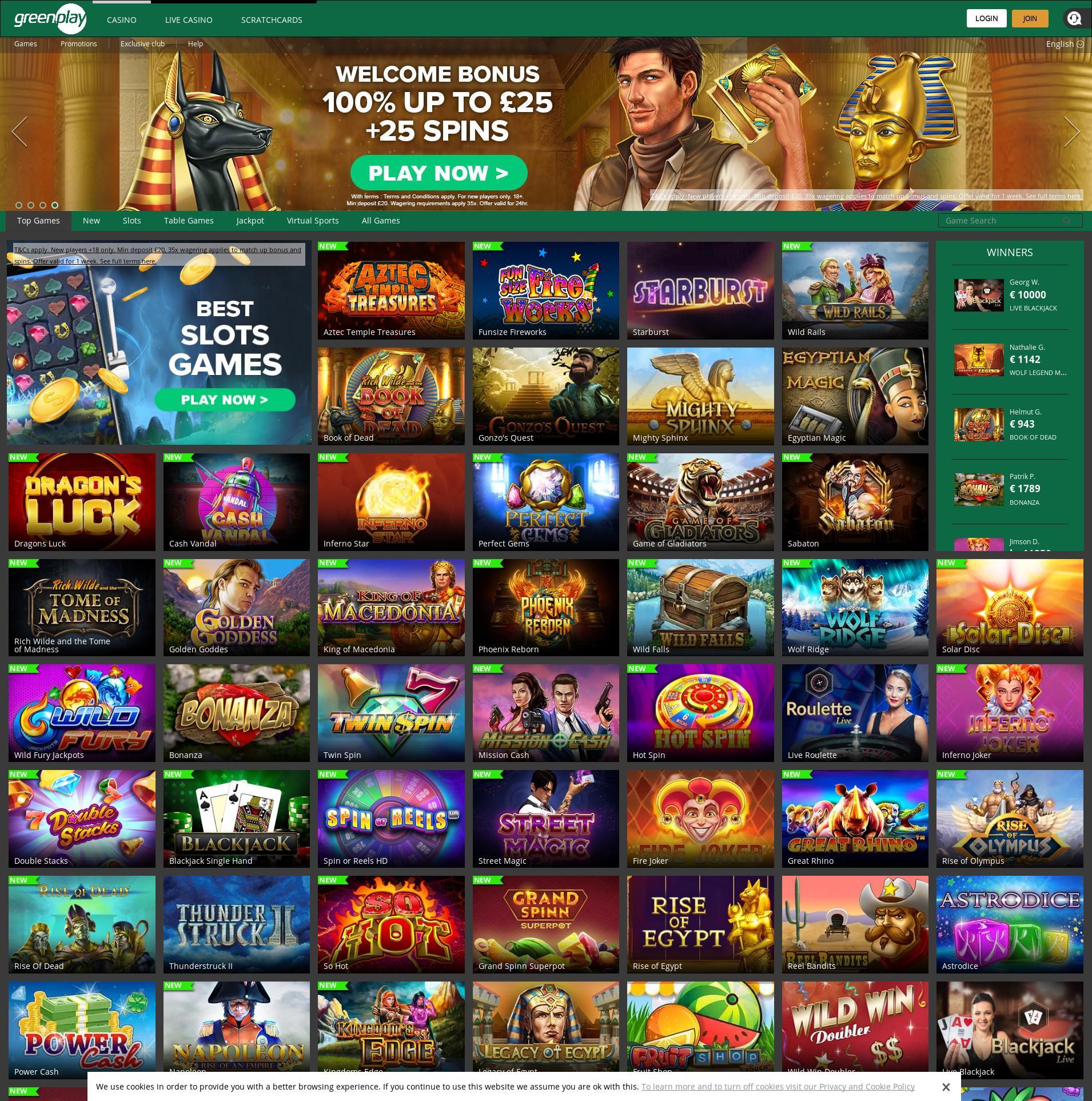 Casino screen Lobby 2019-09-21 for United Kingdom