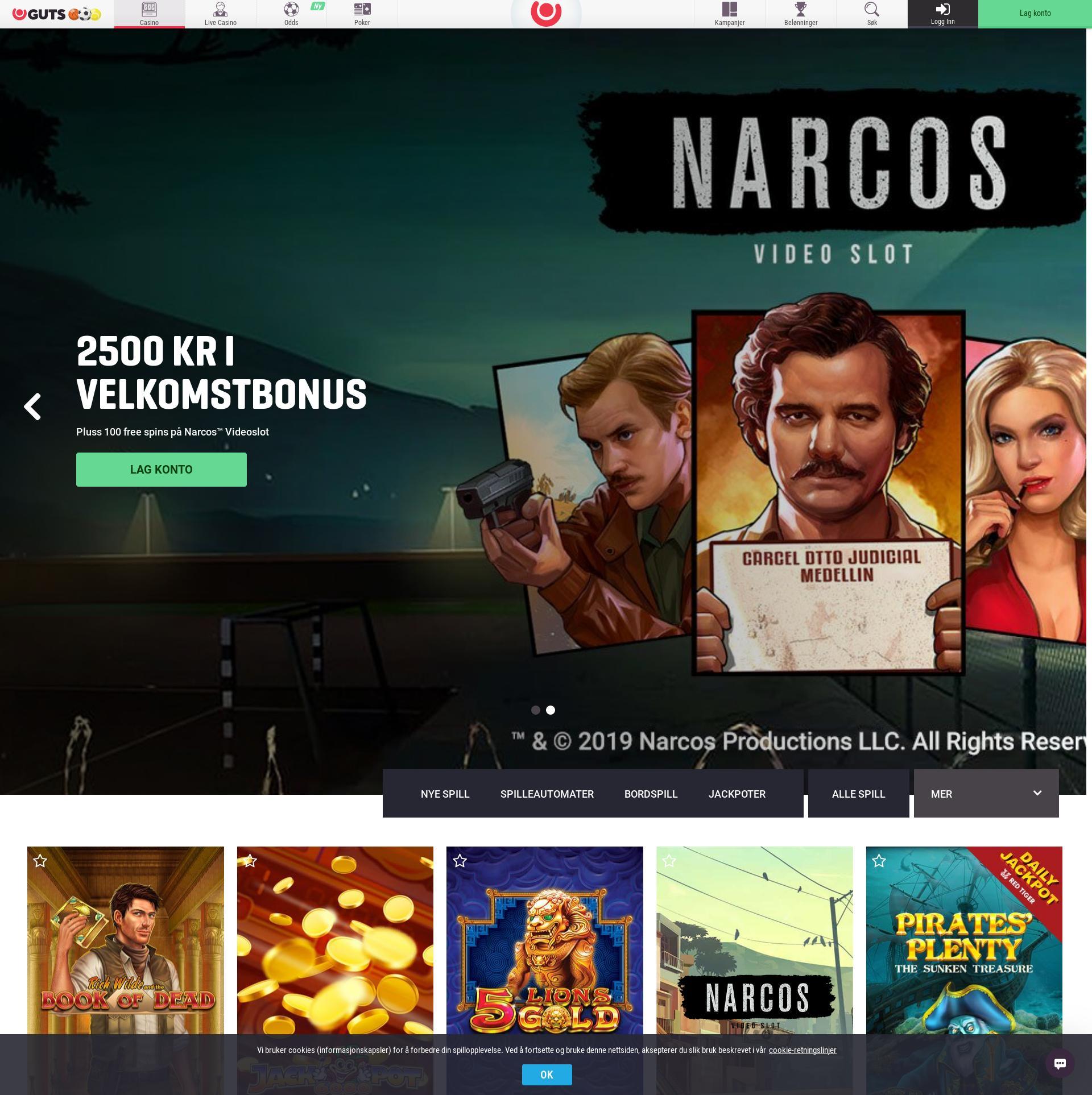 Casino skjerm Lobby 2019-06-24 til Norge