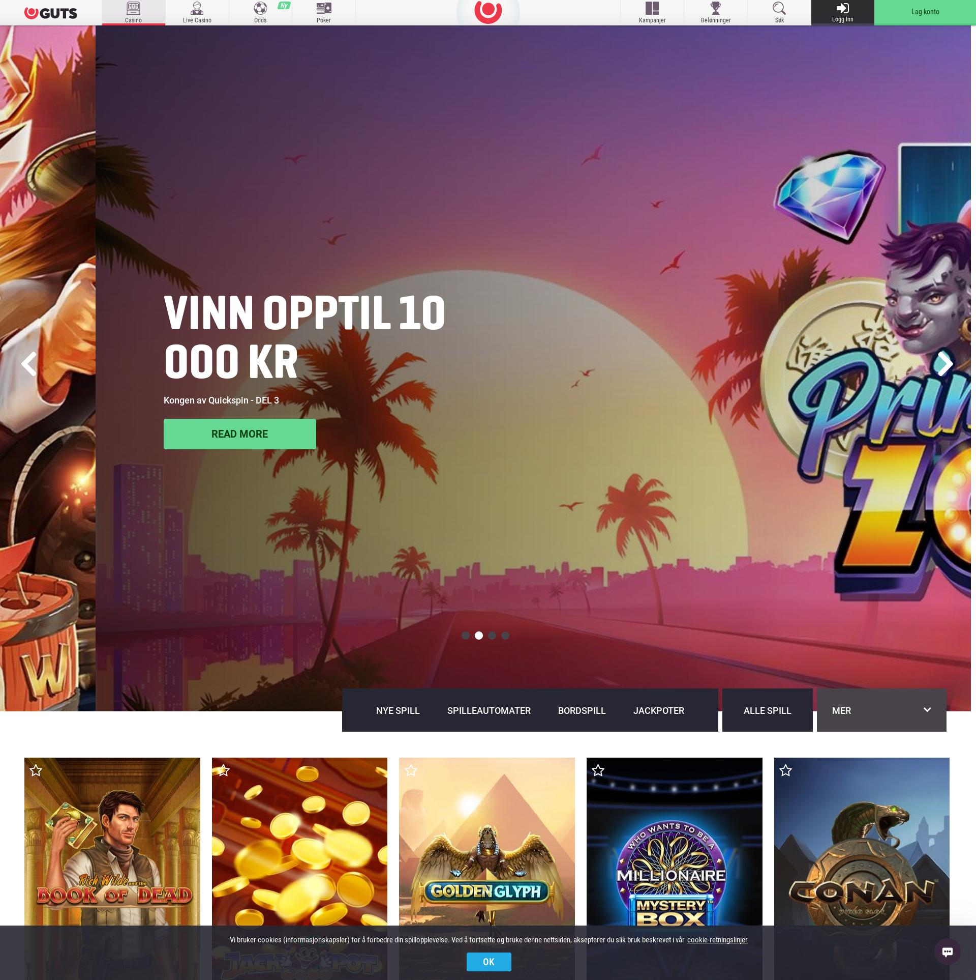 Casino skjerm Lobby 2019-11-19 til Norge