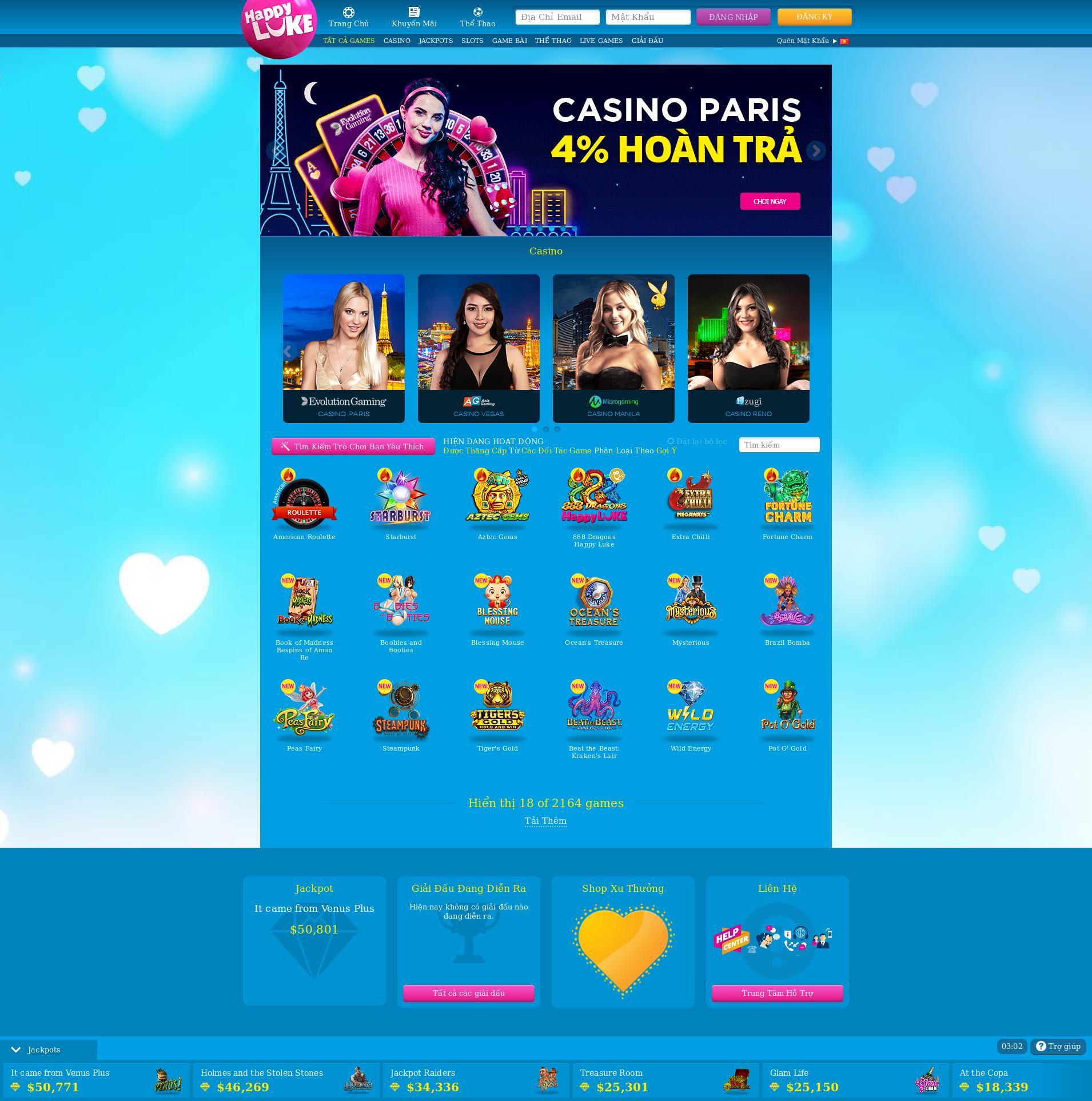 Màn hình Casino Lobby 2020-02-27 cho Việt Nam
