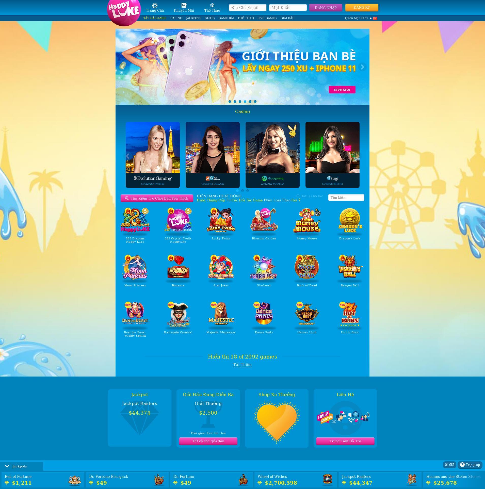 Casino screen Lobby 2020-04-09 for Viet Nam