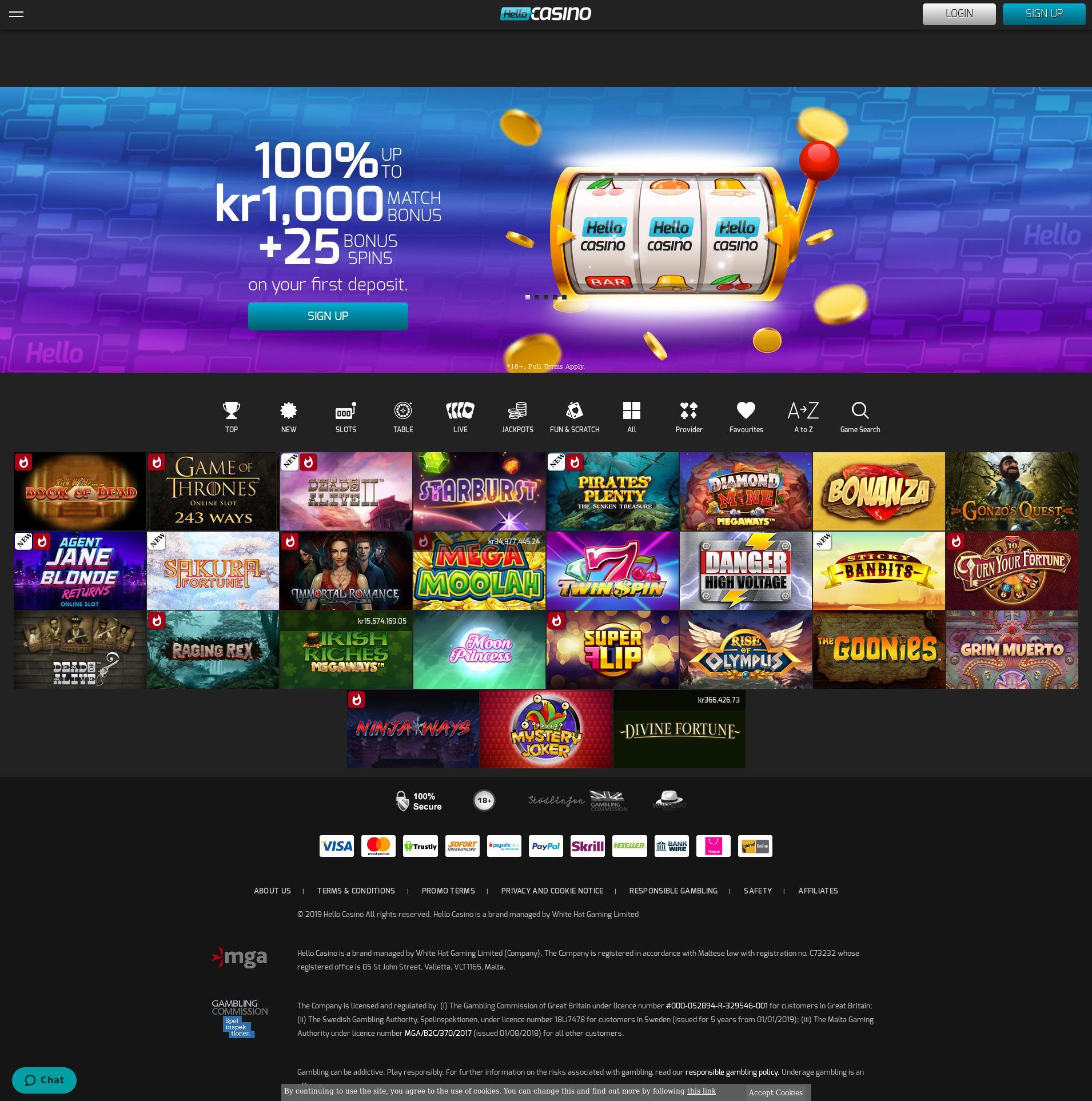 Casino skärm Lobby 2019-07-19 för Sverige