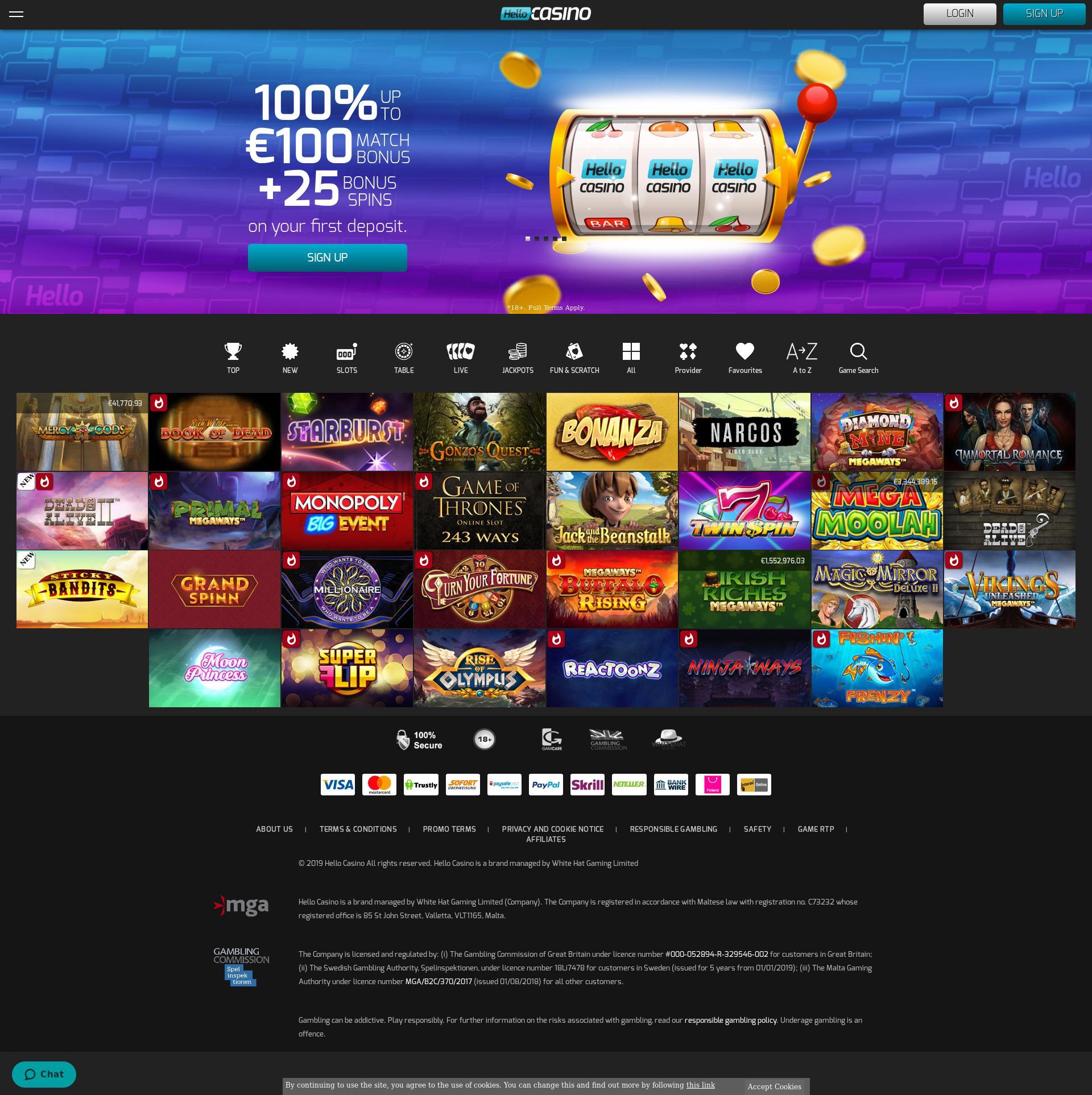 Casino scherm Lobby 2019-10-14 voor Nederland