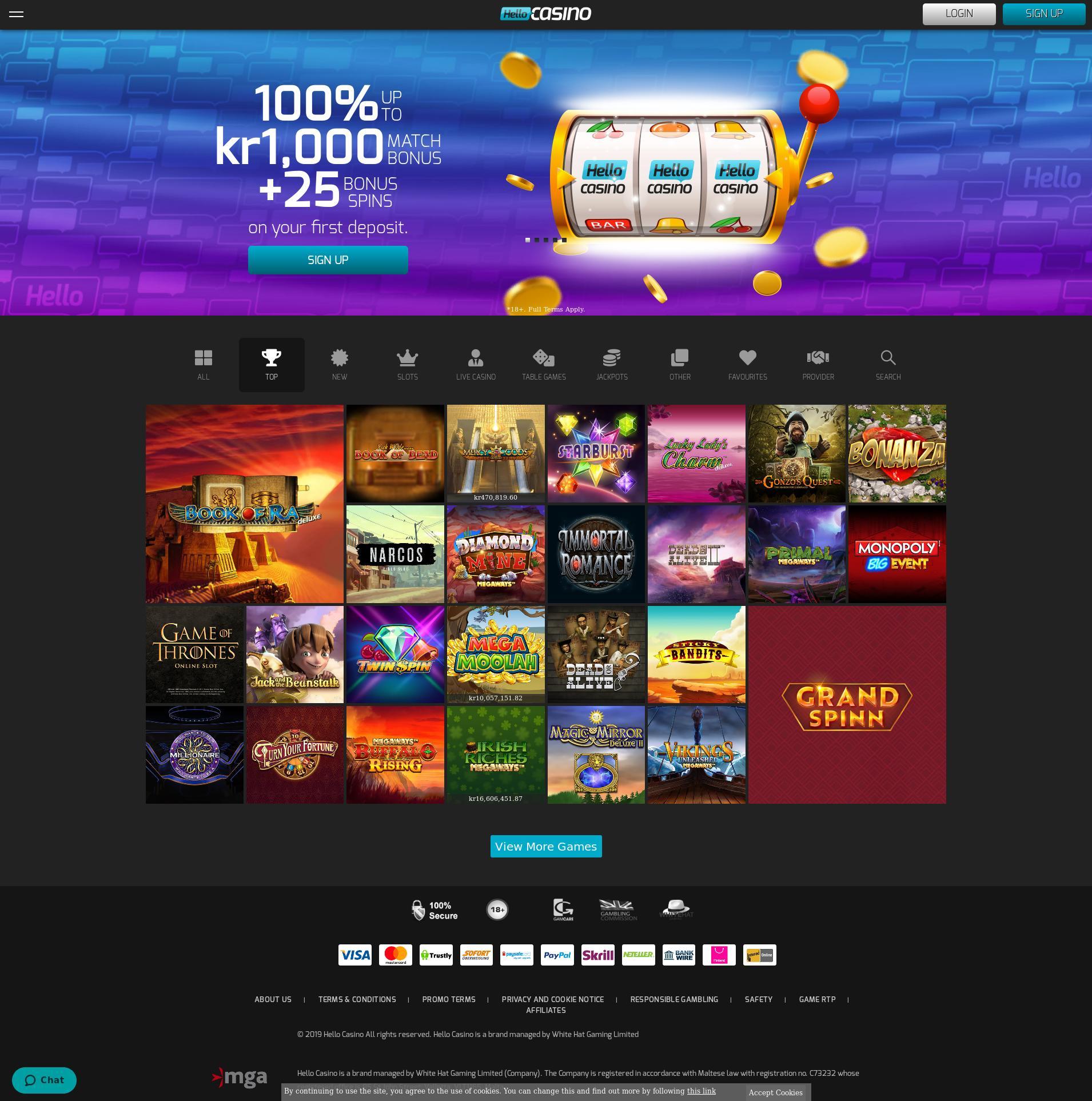 Casino skjerm Lobby 2019-11-11 til Norge