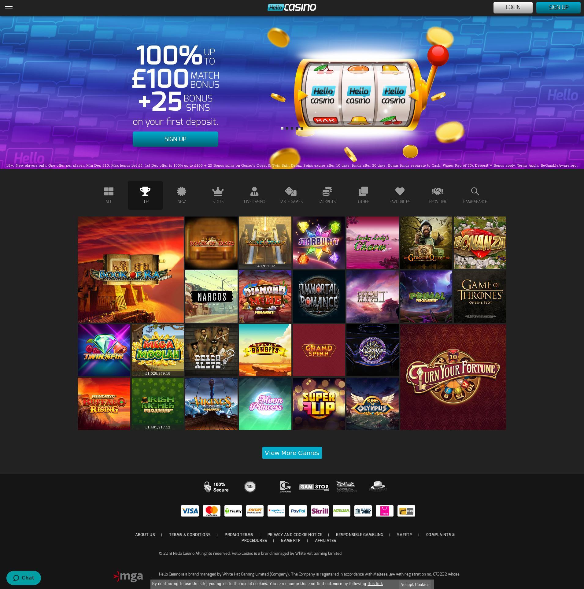 Casino skärm Lobby 2019-11-20 för Storbritannien