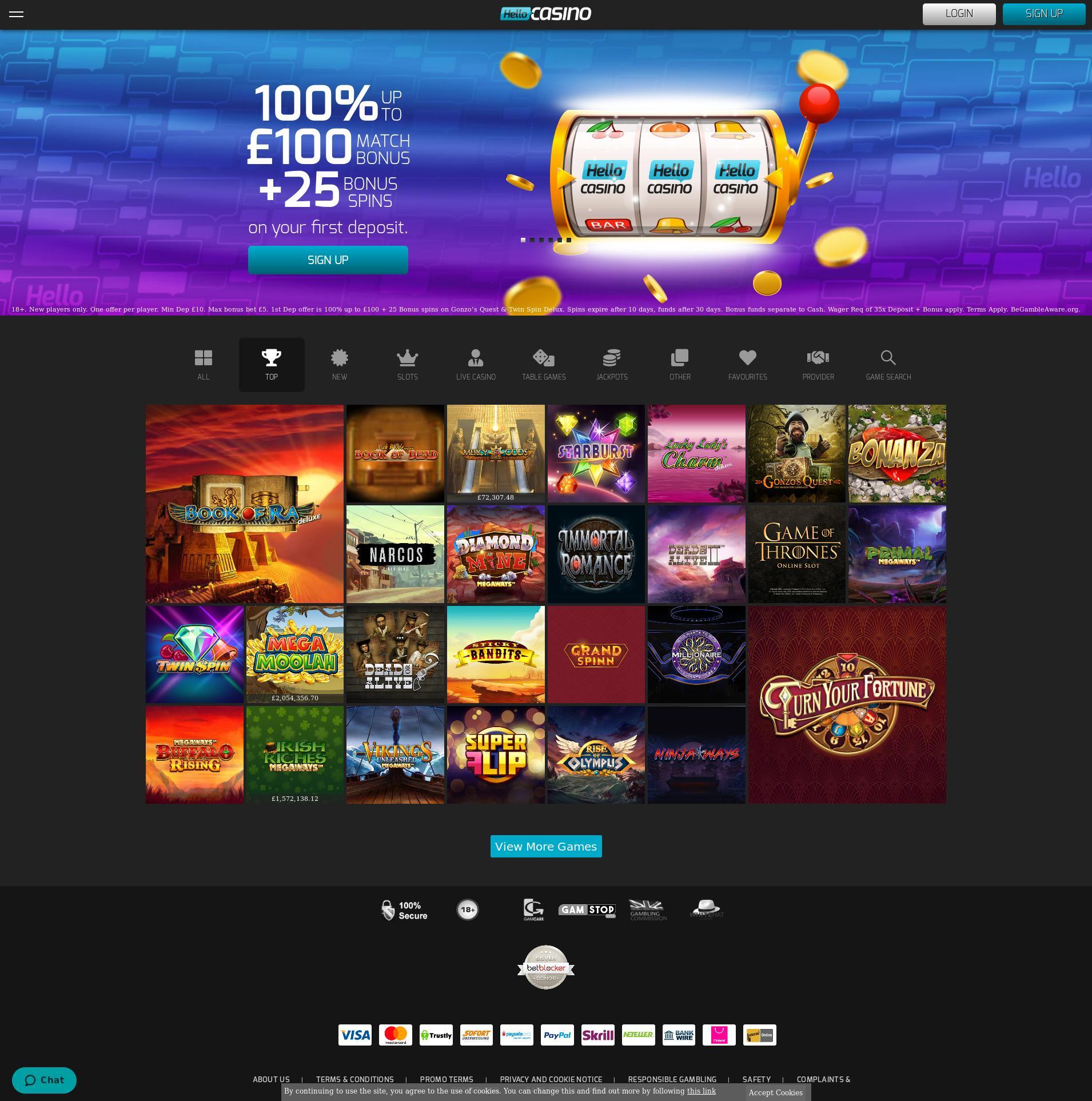 Casino skjerm Lobby 2020-05-28 til Storbritannia