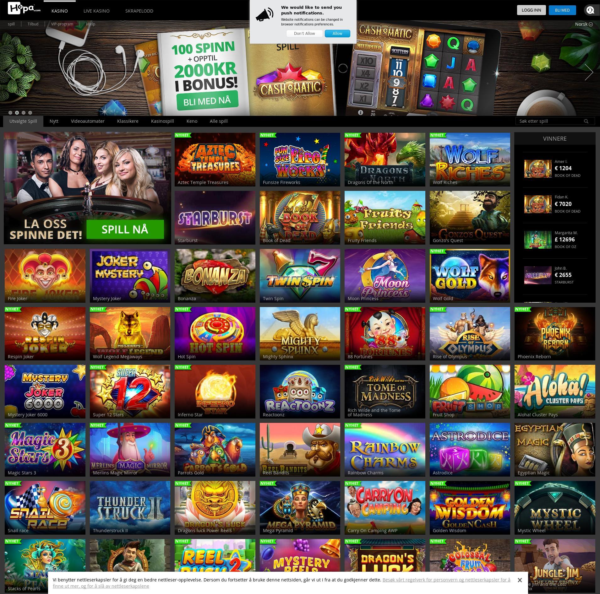 Casino screen Lobby 2019-11-19 for Norway