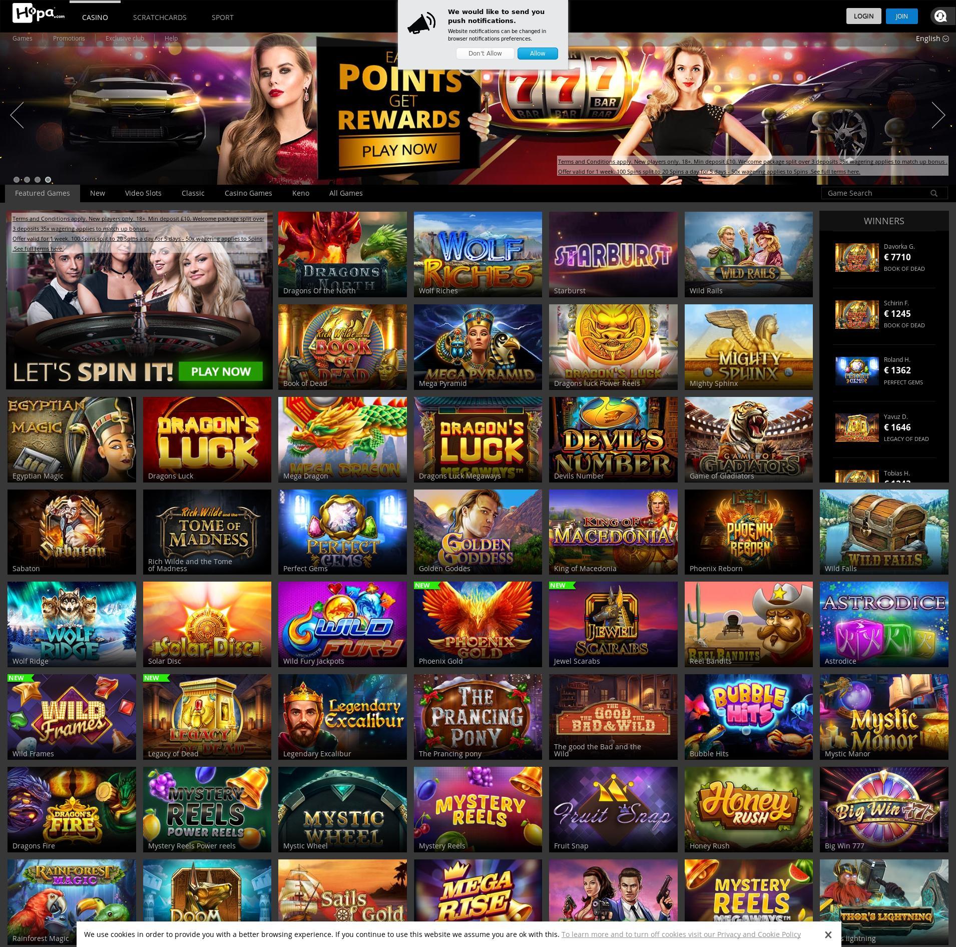 Casino screen Lobby 2020-01-23 for United Kingdom