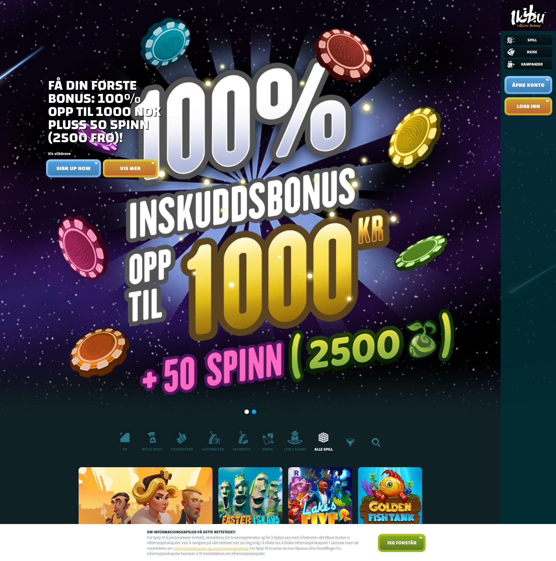 Casino skjerm Lobby 2019-11-20 til Norge