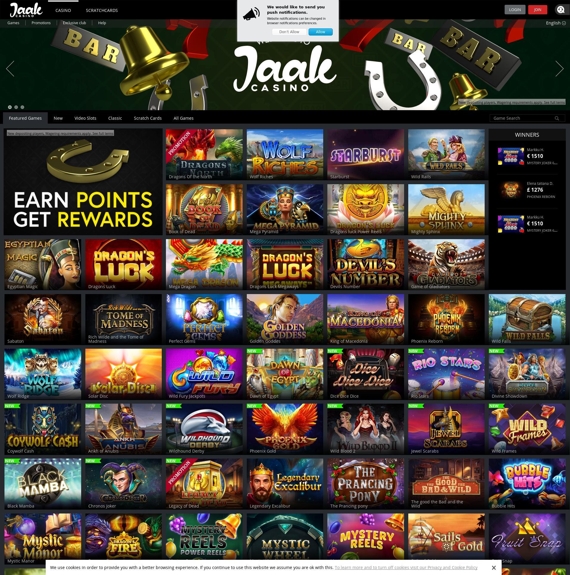 Casino screen Lobby 2020-02-21 for United Kingdom