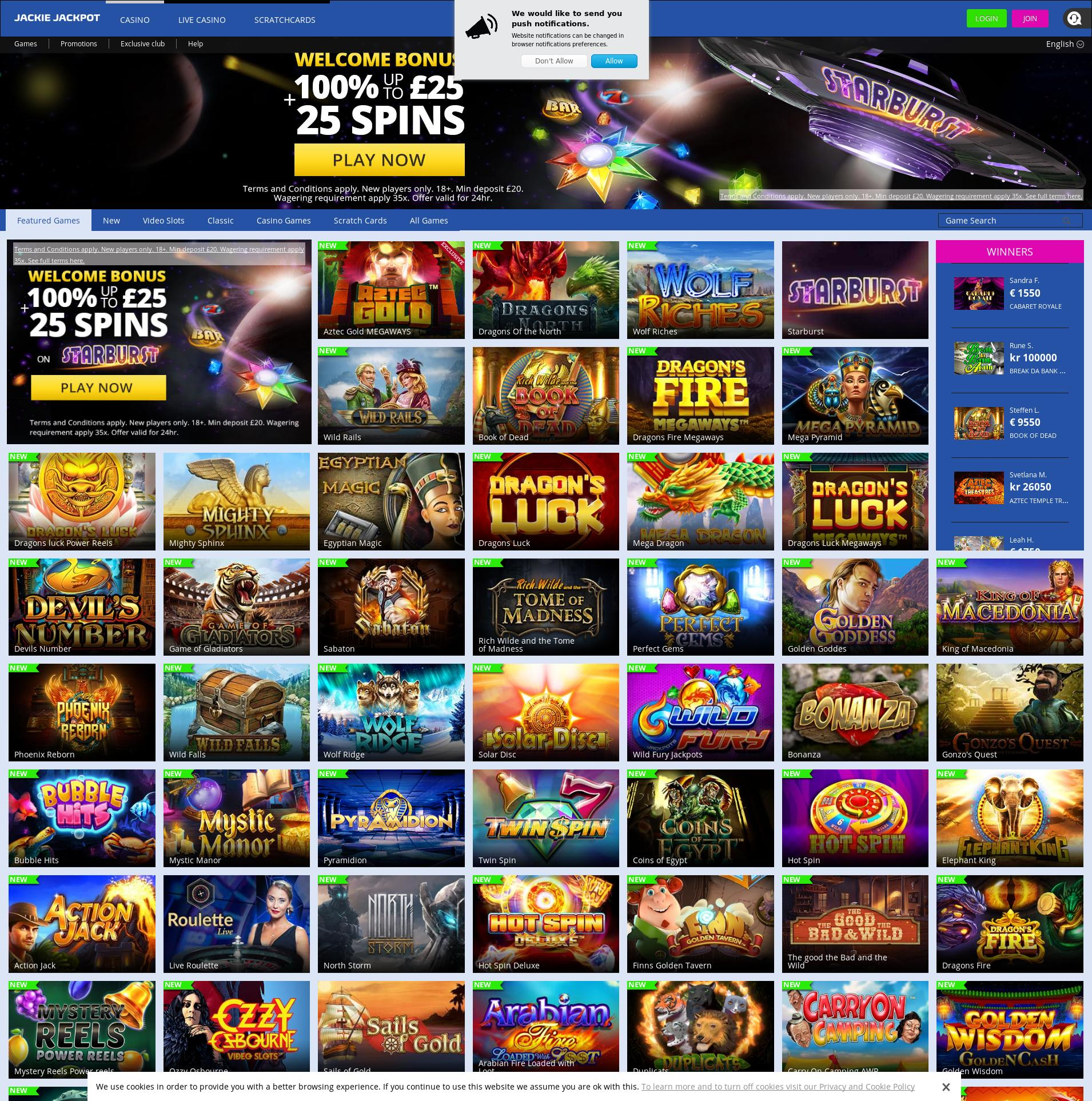Casino screen Lobby 2019-12-11 for United Kingdom