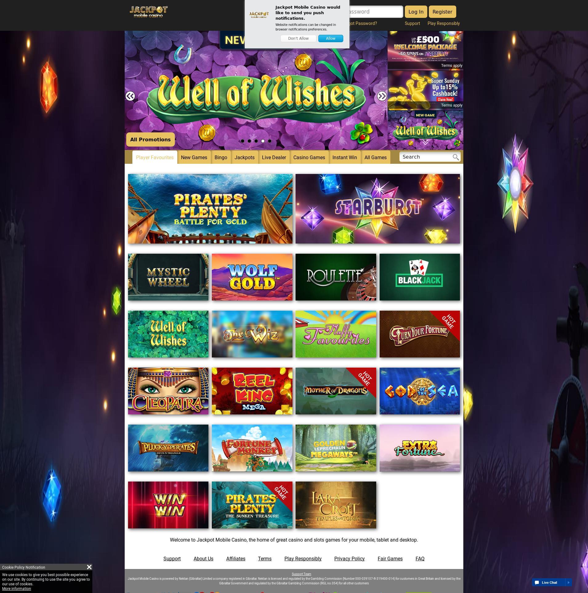 Casino screen Lobby 2019-09-15 for United Kingdom