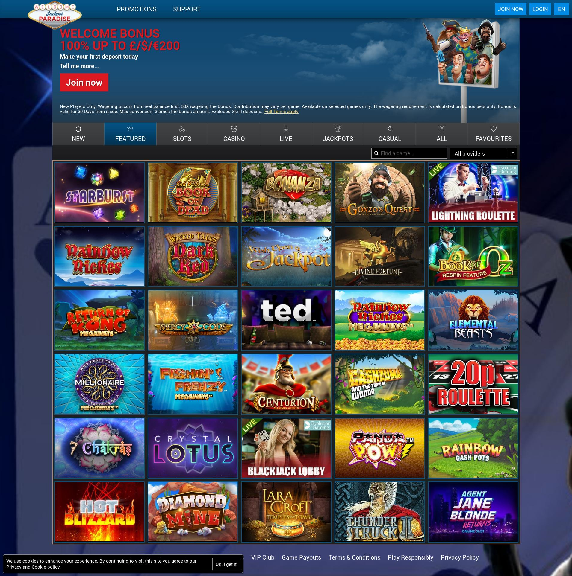 Casino screen Lobby 2019-11-18 for United Kingdom