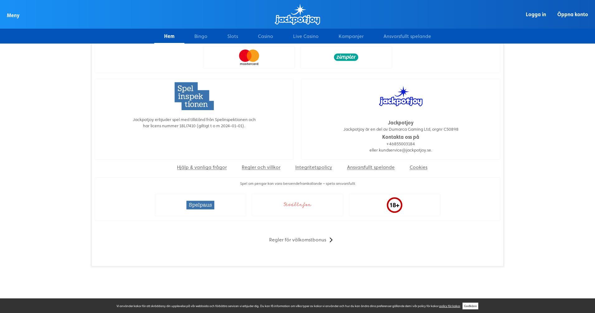 Casino skärm Lobby 2020-01-28 för Sverige