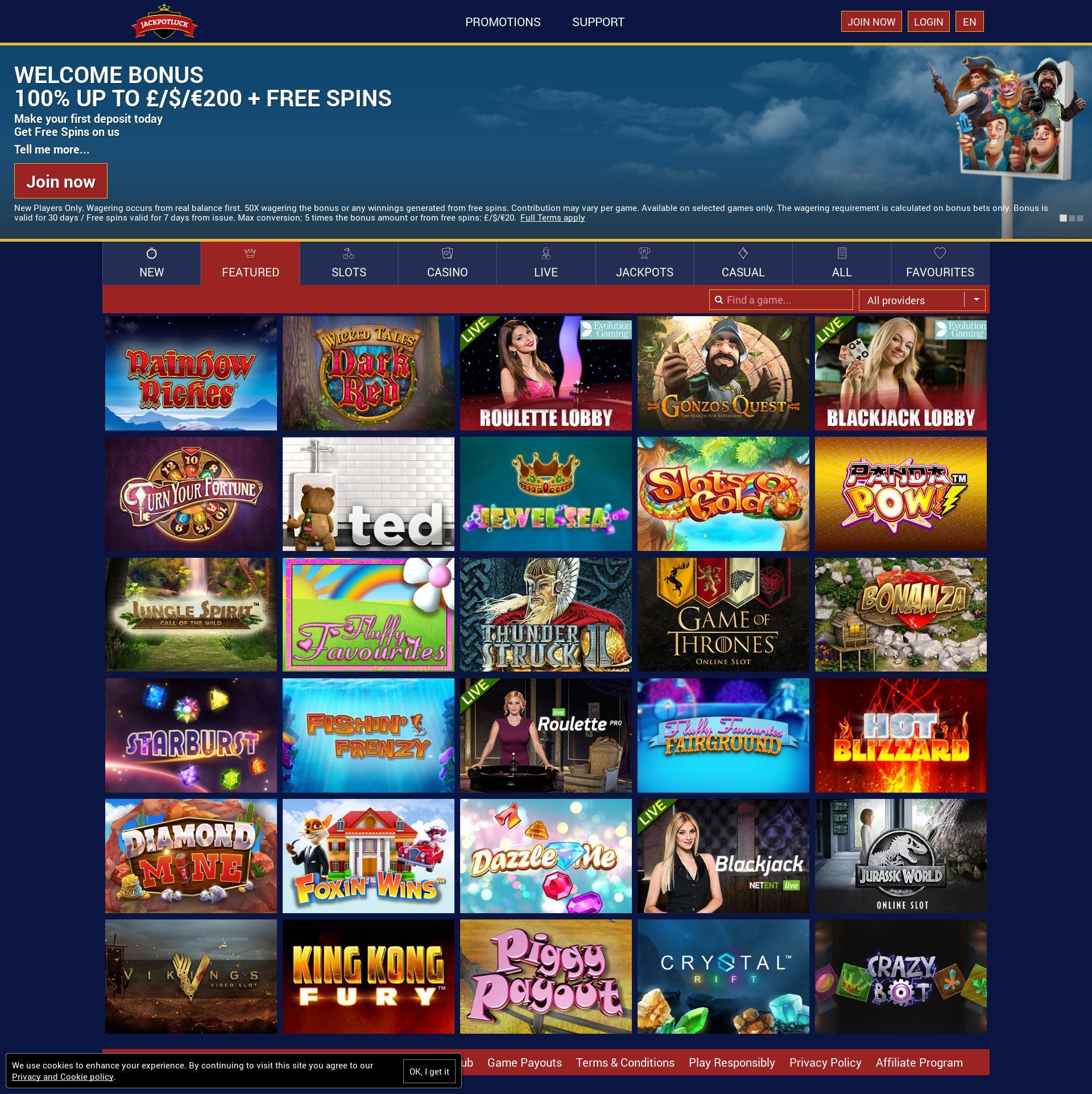 Casino screen Lobby 2019-02-18 for United Kingdom