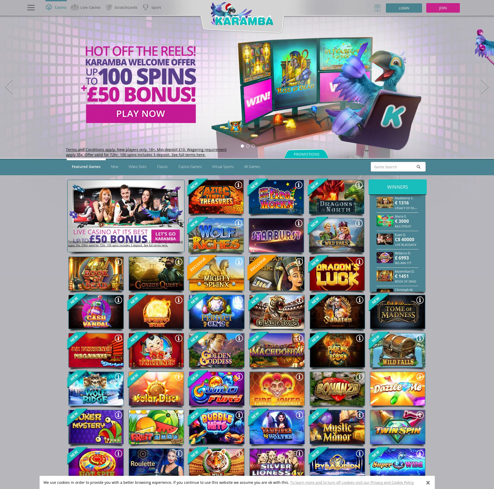Casino screen Lobby 2019-12-10 for United Kingdom