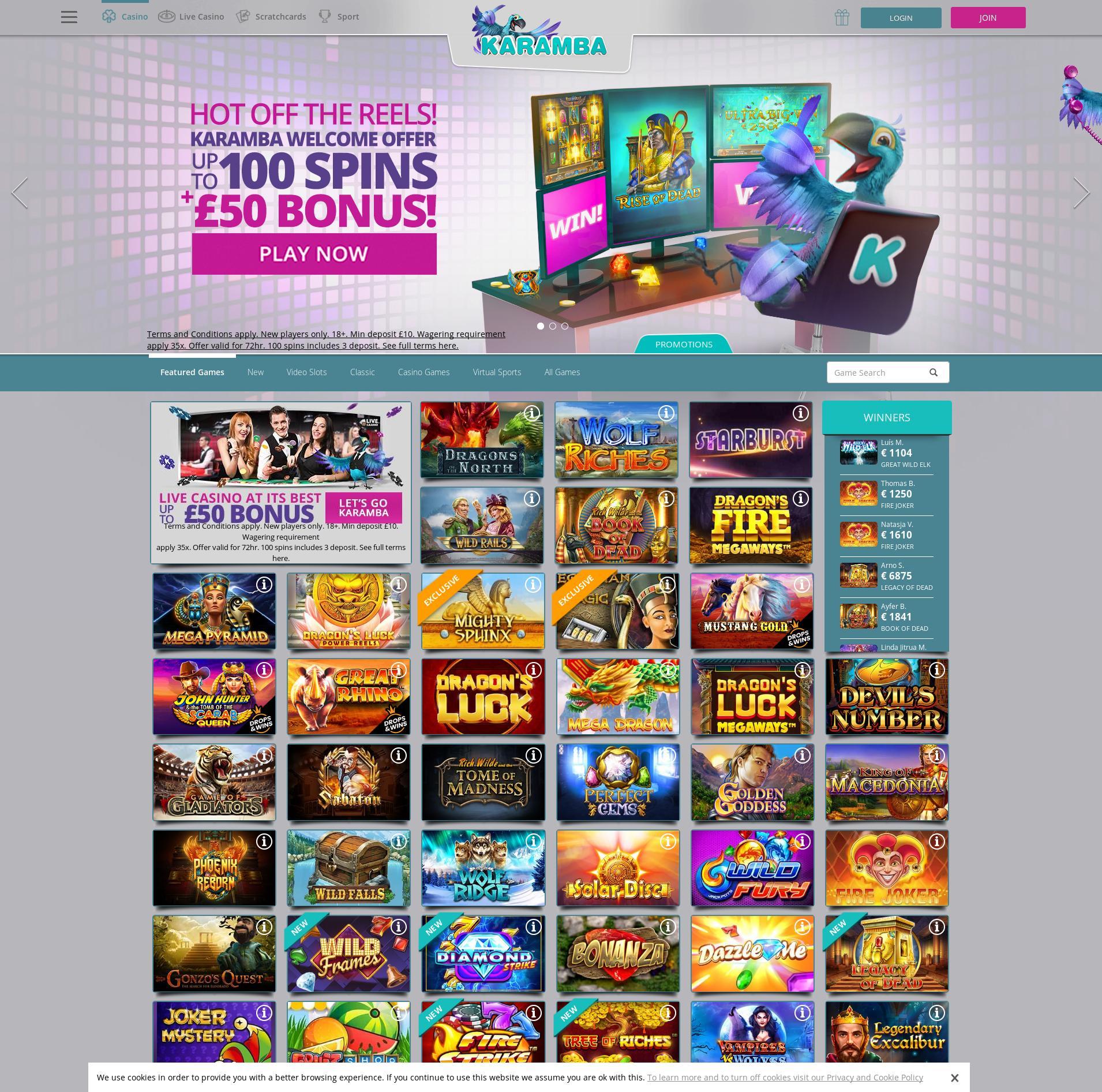 Casino screen Lobby 2020-01-20 for United Kingdom