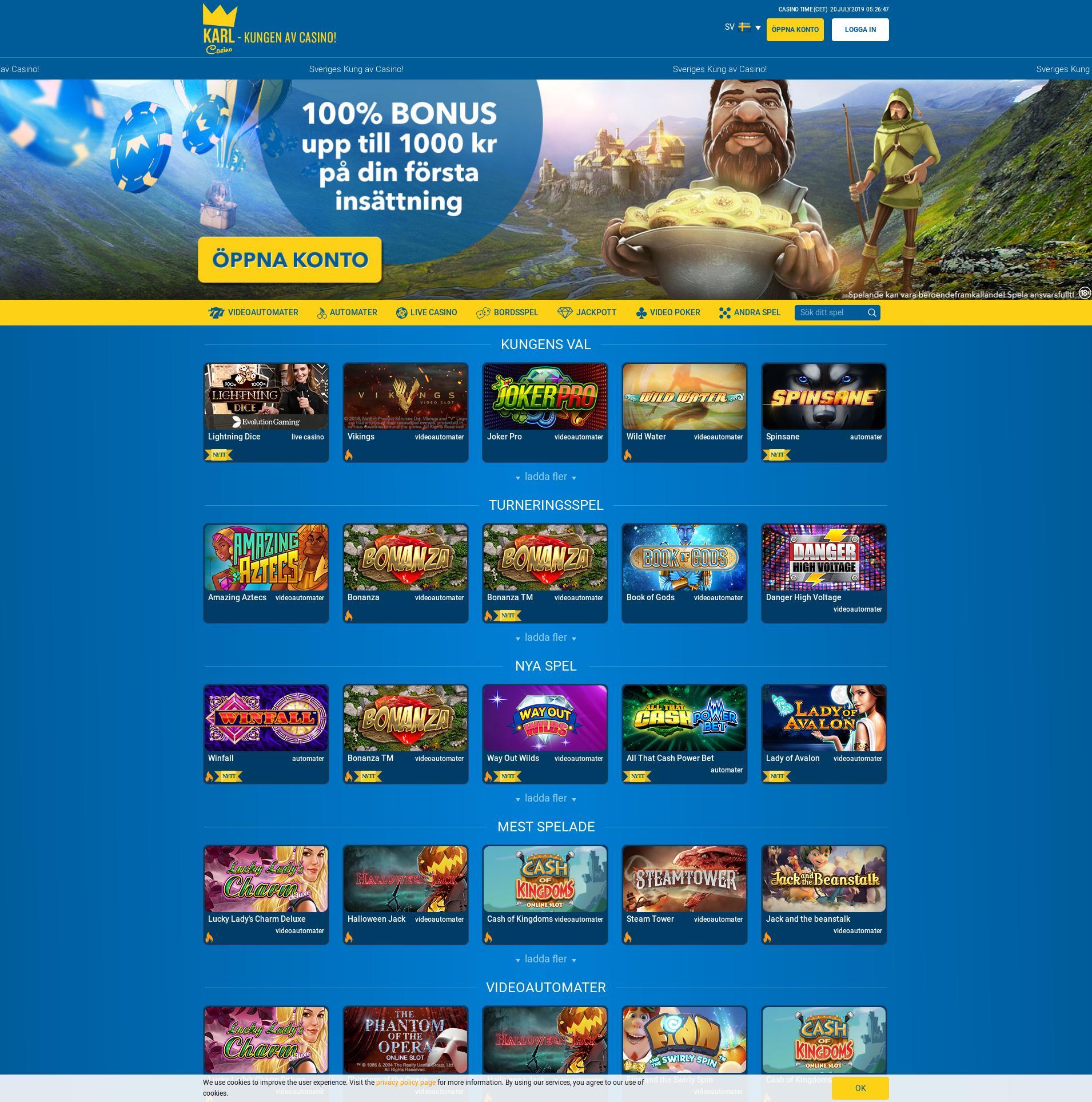 Casino screen Lobby 2019-07-20 for Sweden