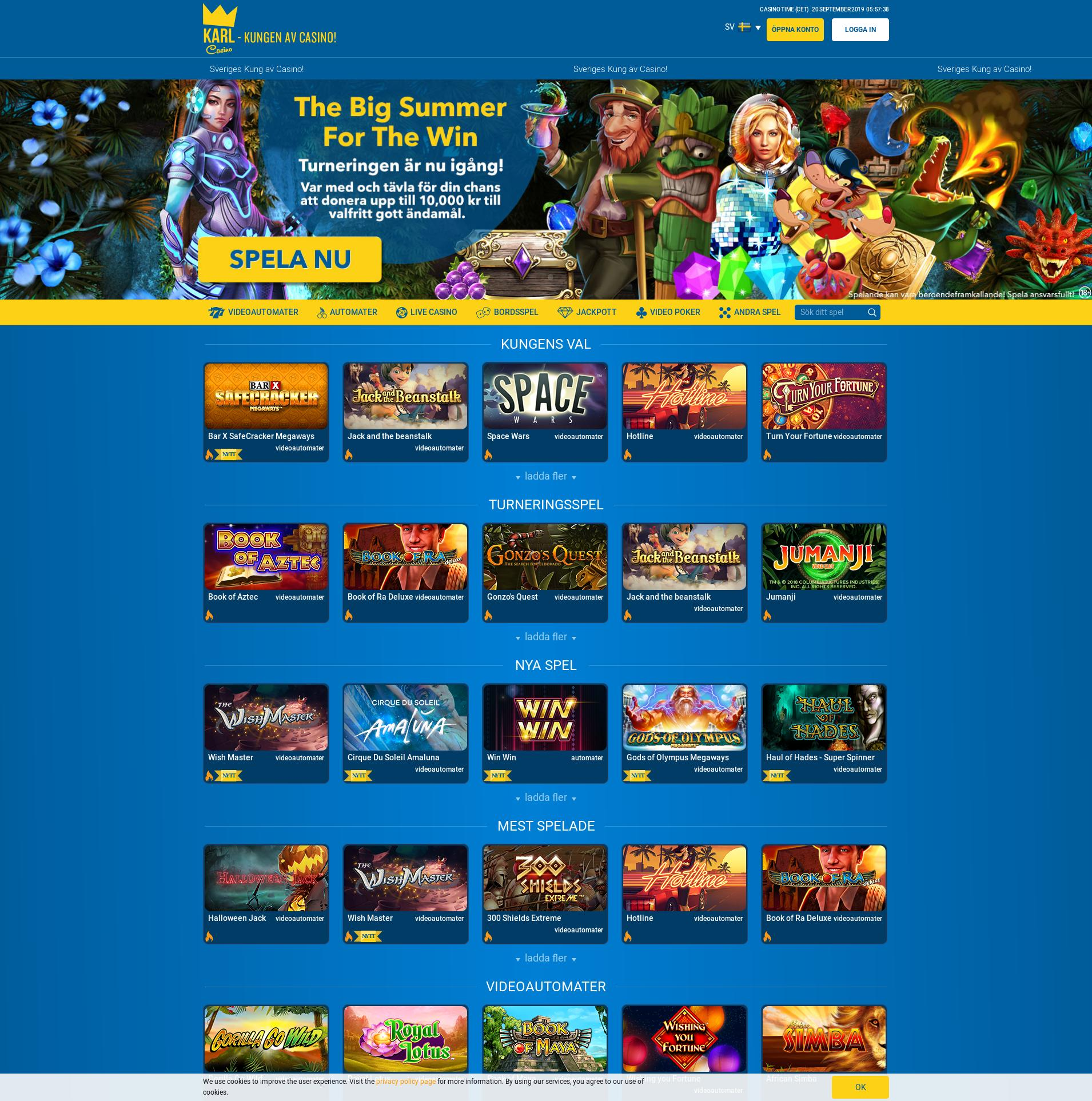 Casino screen Lobby 2019-09-20 for Sweden