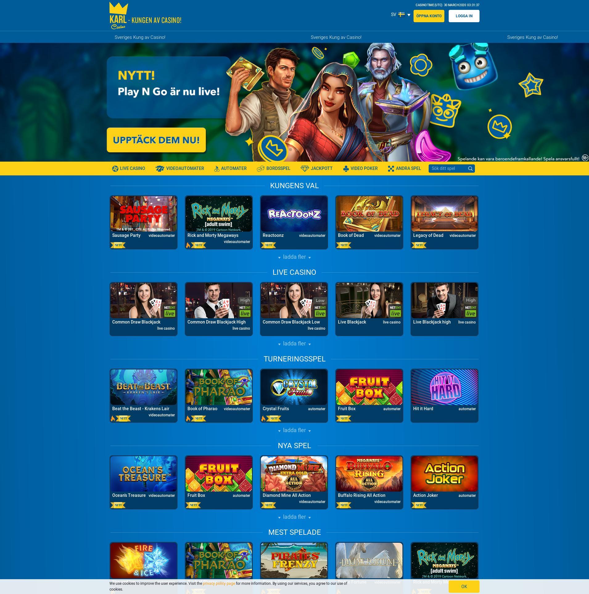 Casino skärm Lobby 2020-03-30 för Sverige