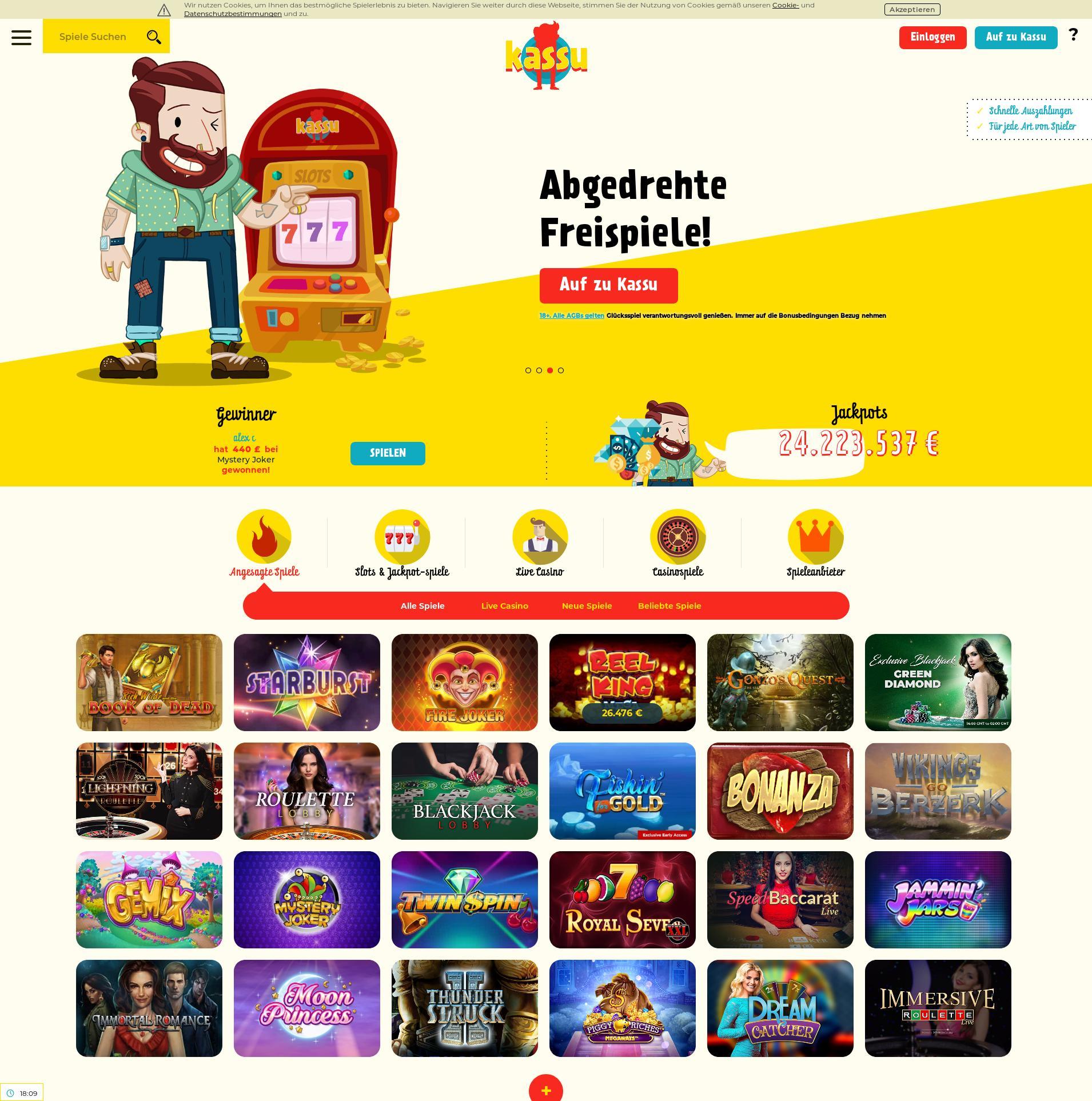Casino screen Lobby 2020-02-17 for Germany