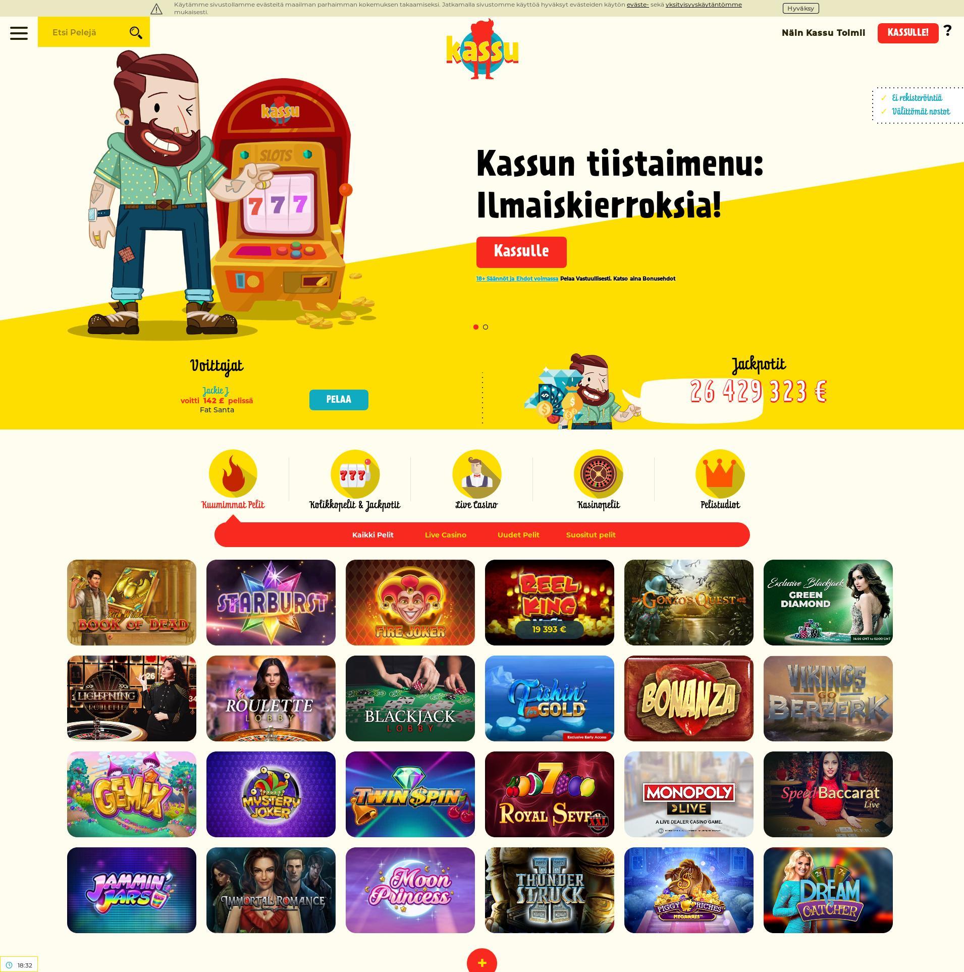 Casino-näyttö Lobby 2020-02-24 varten Suomi